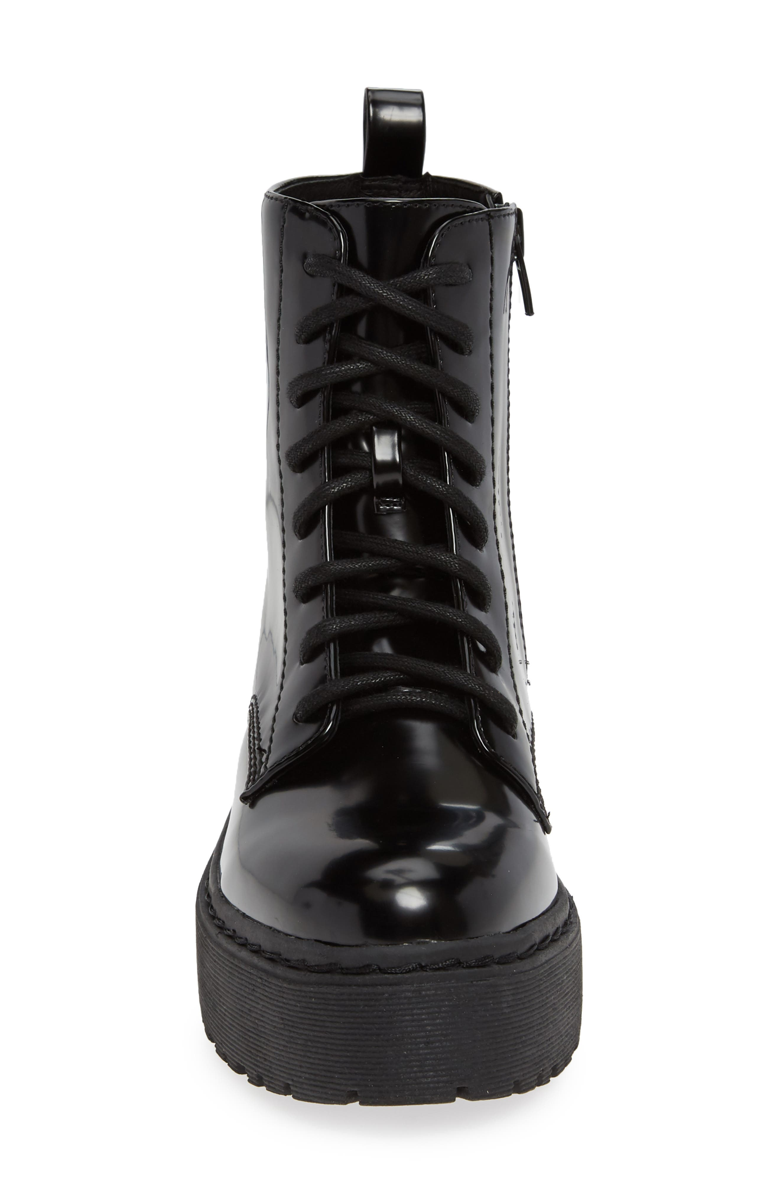 JEFFREY CAMPBELL, District Combat Boot, Alternate thumbnail 4, color, BLACK LEATHER