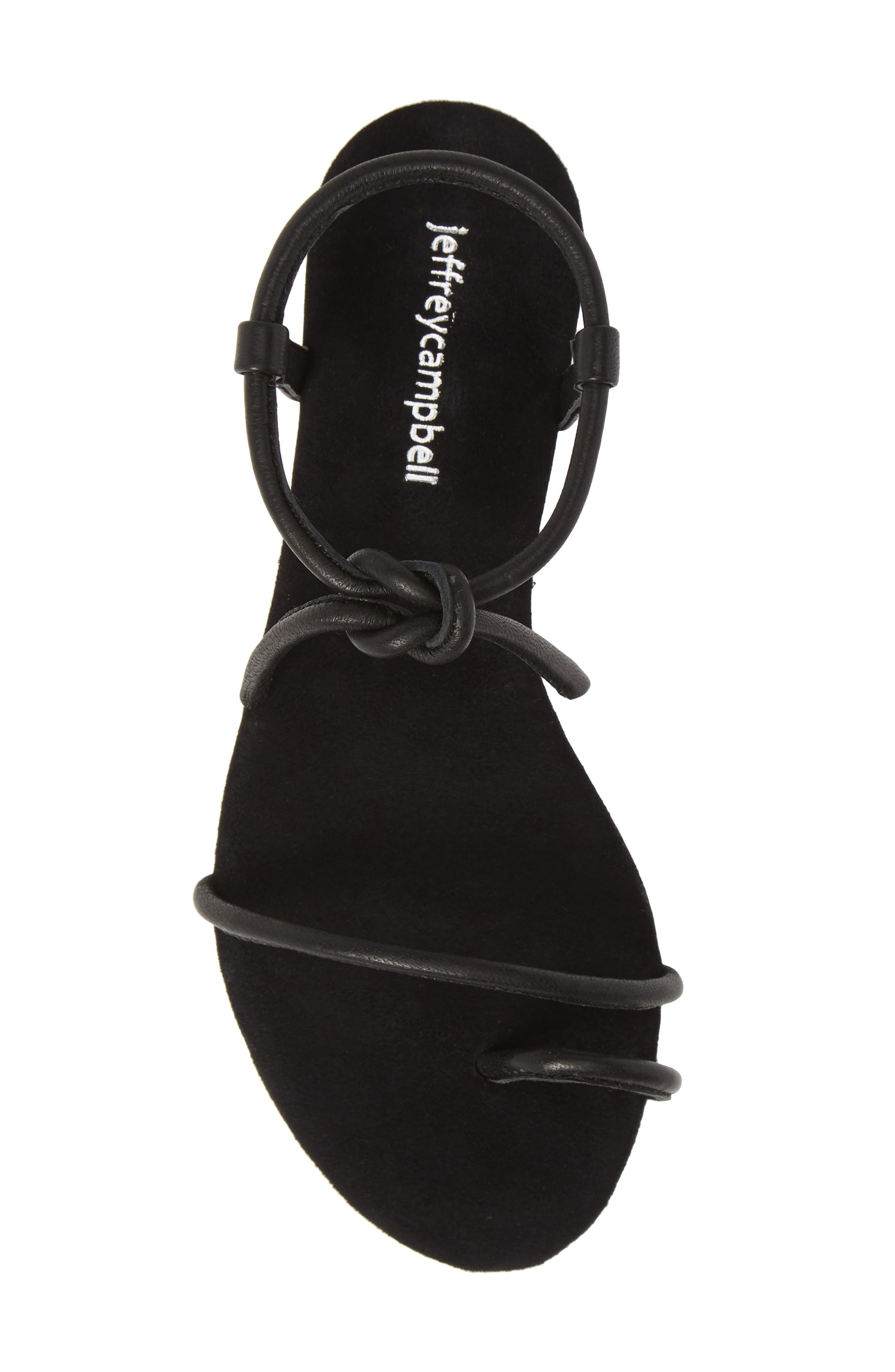 JEFFREY CAMPBELL, Aster Tie Sandal, Alternate thumbnail 5, color, BLACK LEATHER