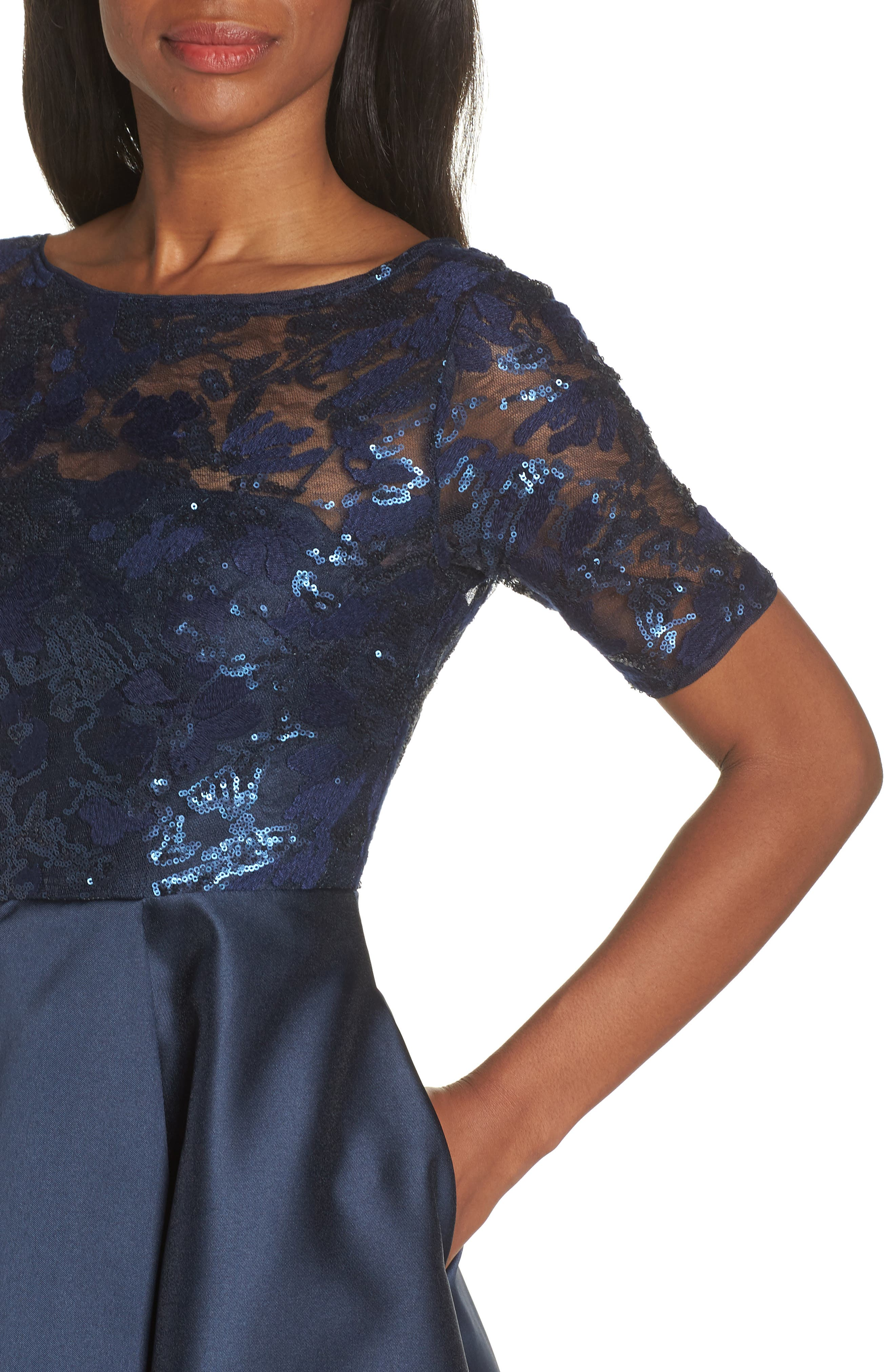 ADRIANNA PAPELL, Sequin Lace High/Low Evening Dress, Alternate thumbnail 5, color, MIDNIGHT