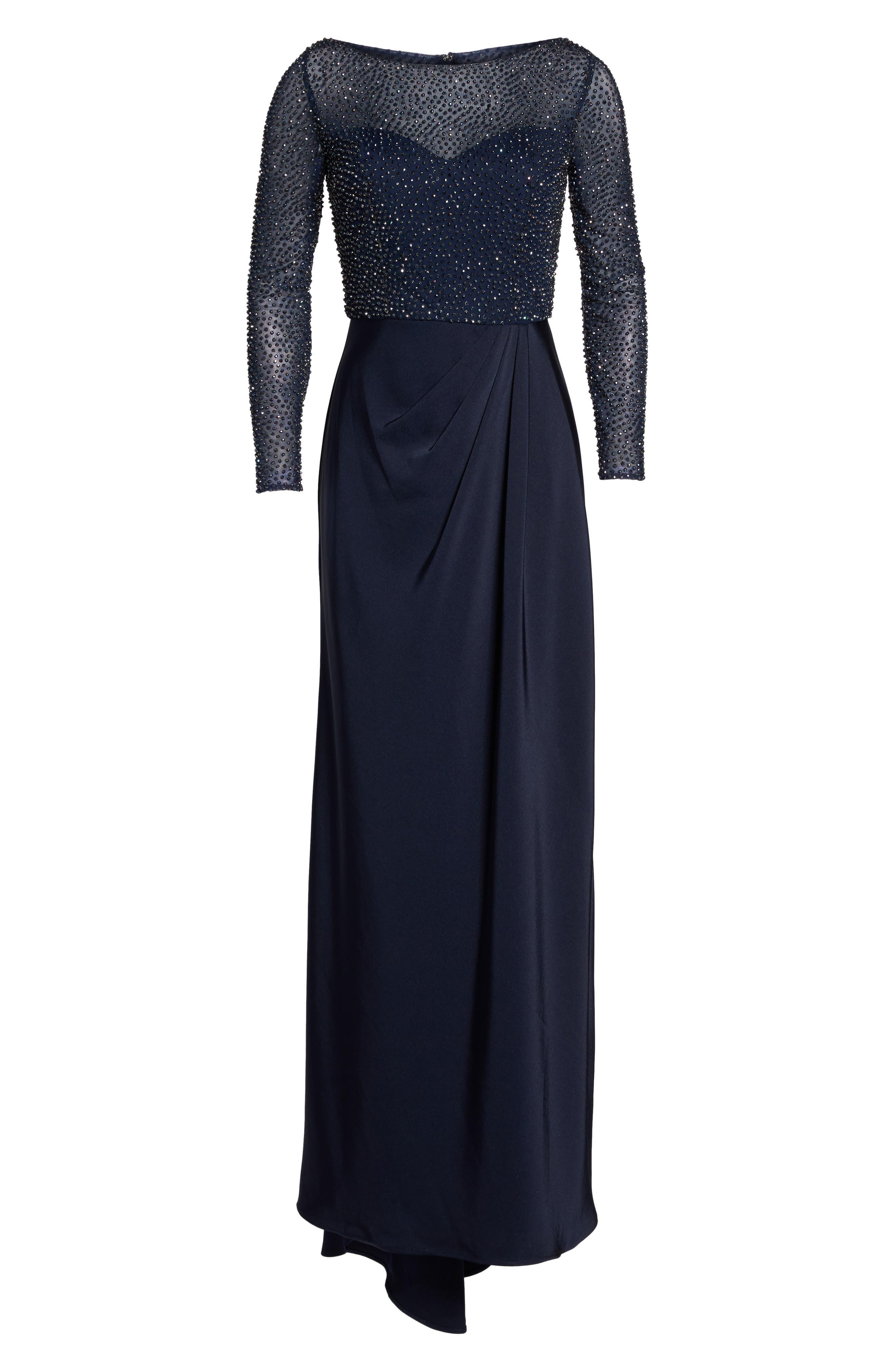 LA FEMME, Bead Embellished Gown, Alternate thumbnail 6, color, NAVY