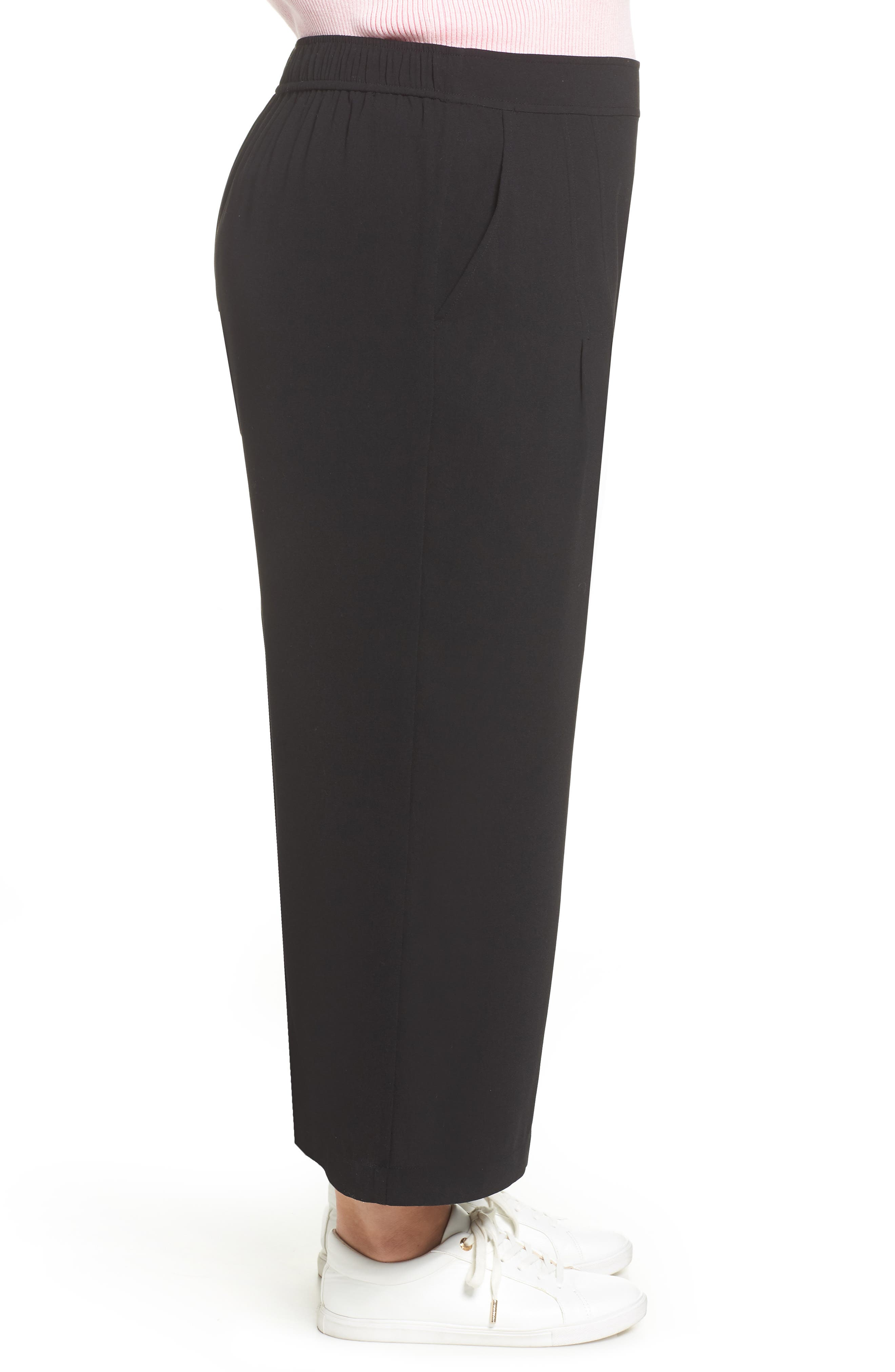 BP., High Waist Soft Wide Leg Crop Pants, Alternate thumbnail 10, color, BLACK