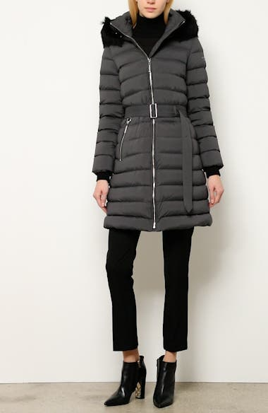 Limehouse Quilted Down Puffer Coat with Removable Genuine Shearling Trim, video thumbnail