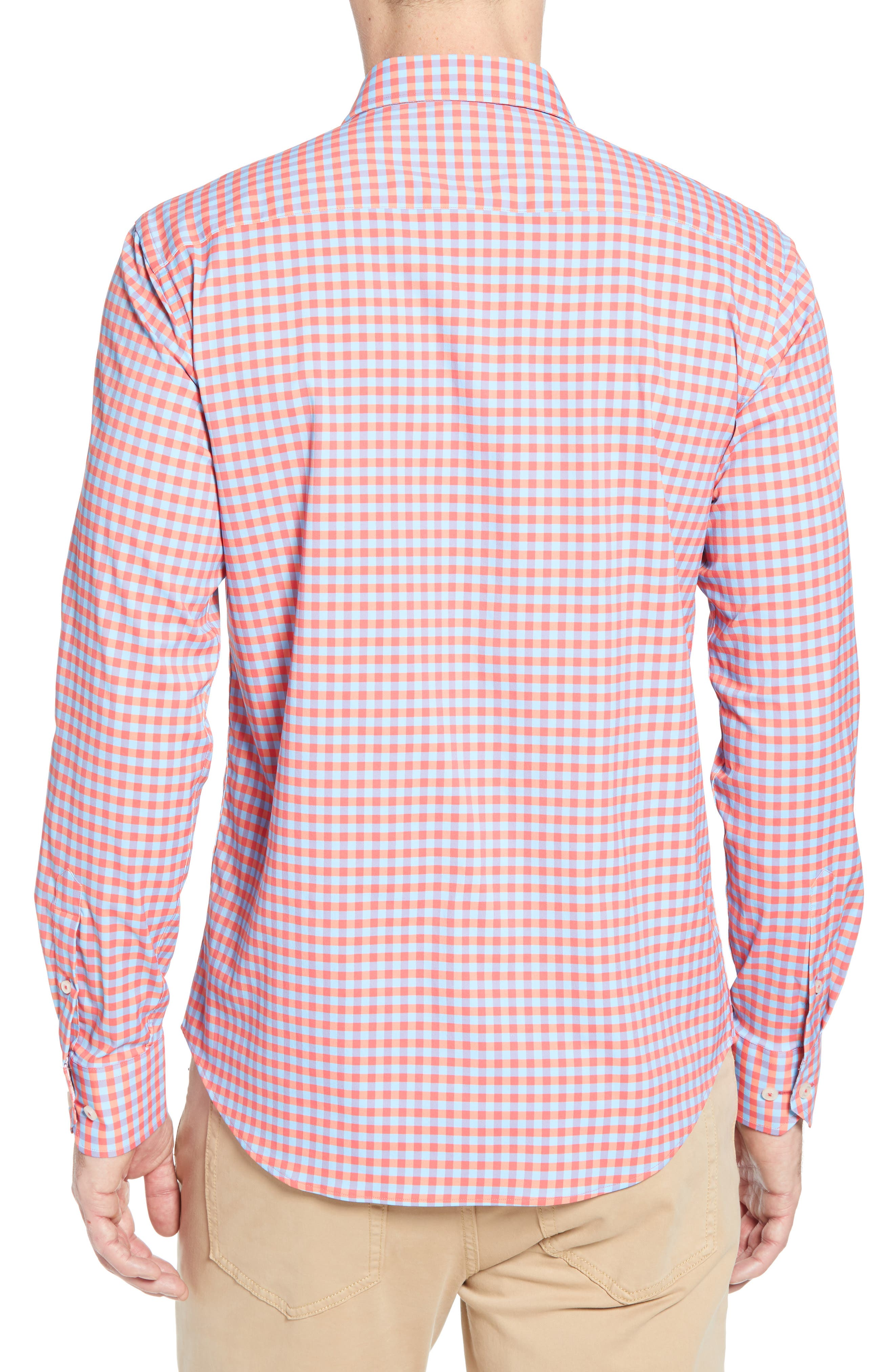 BUGATCHI, Shaped Fit Print Performance Sport Shirt, Alternate thumbnail 3, color, RUBY