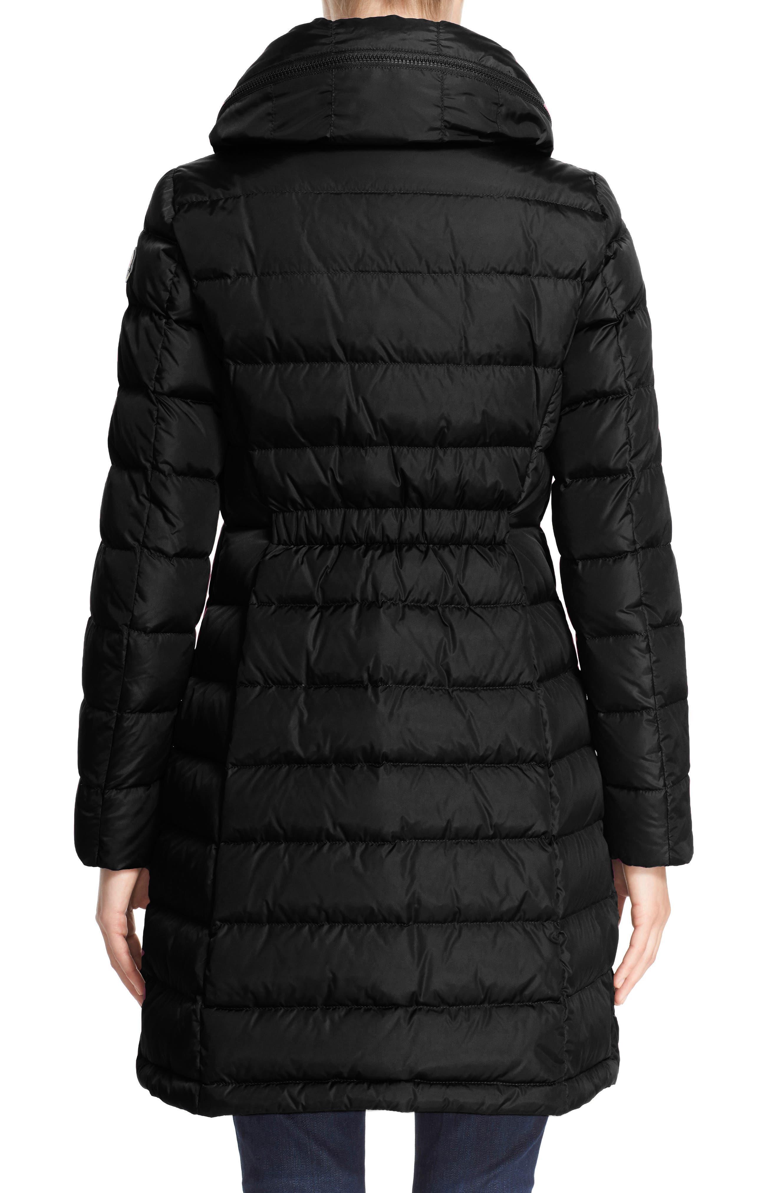 MONCLER, 'Flammette' Water Resistant Long Hooded Down Coat, Alternate thumbnail 2, color, BLK