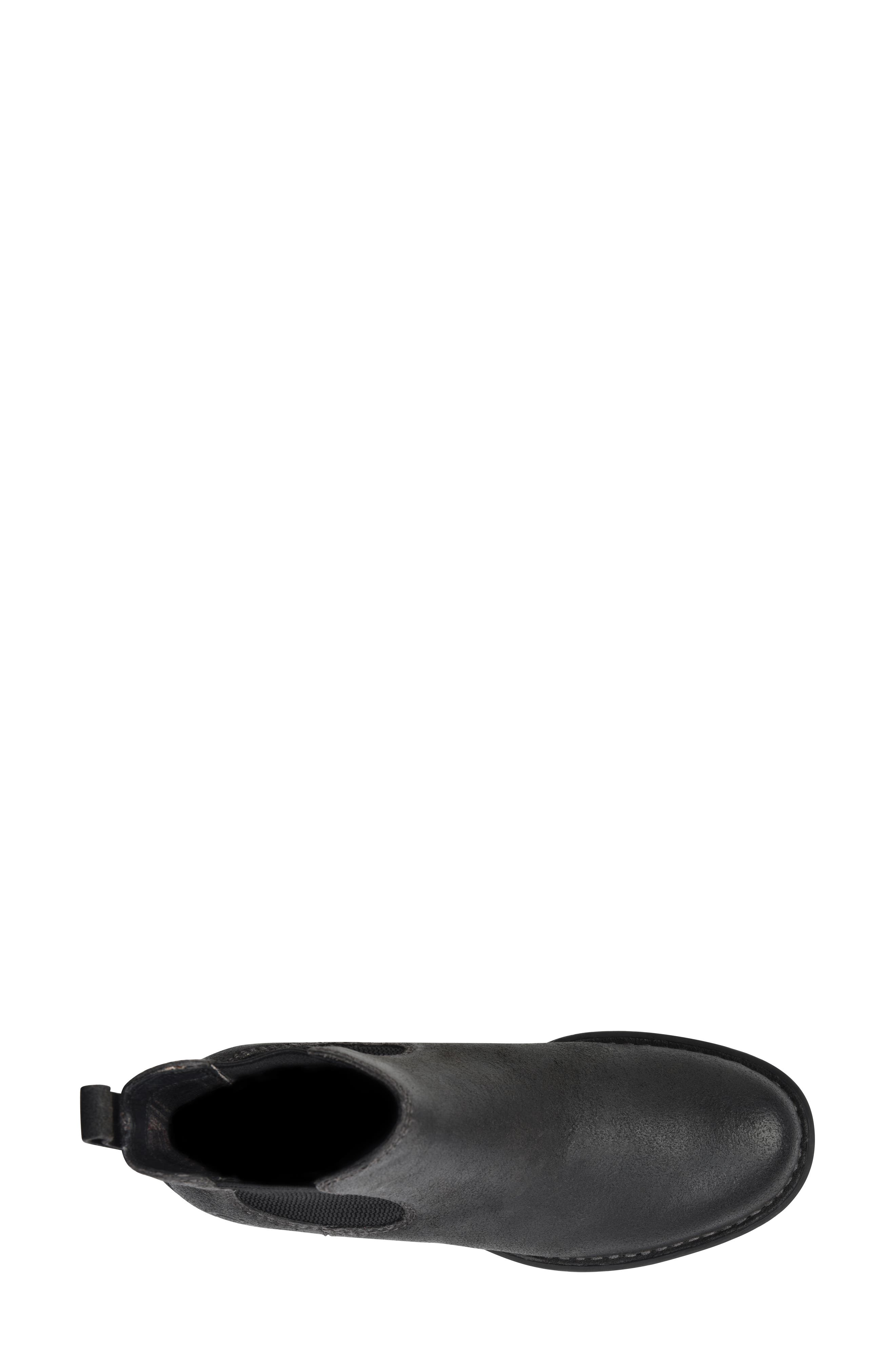 BØRN, Cove Waterproof Chelsea Boot, Alternate thumbnail 5, color, BLACK DISTRESSED LEATHER
