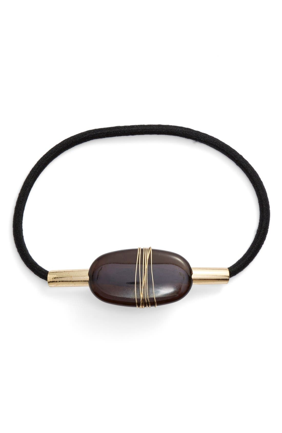 BERRY, Wrapped Stone Ponytail Holder, Main thumbnail 1, color, 001