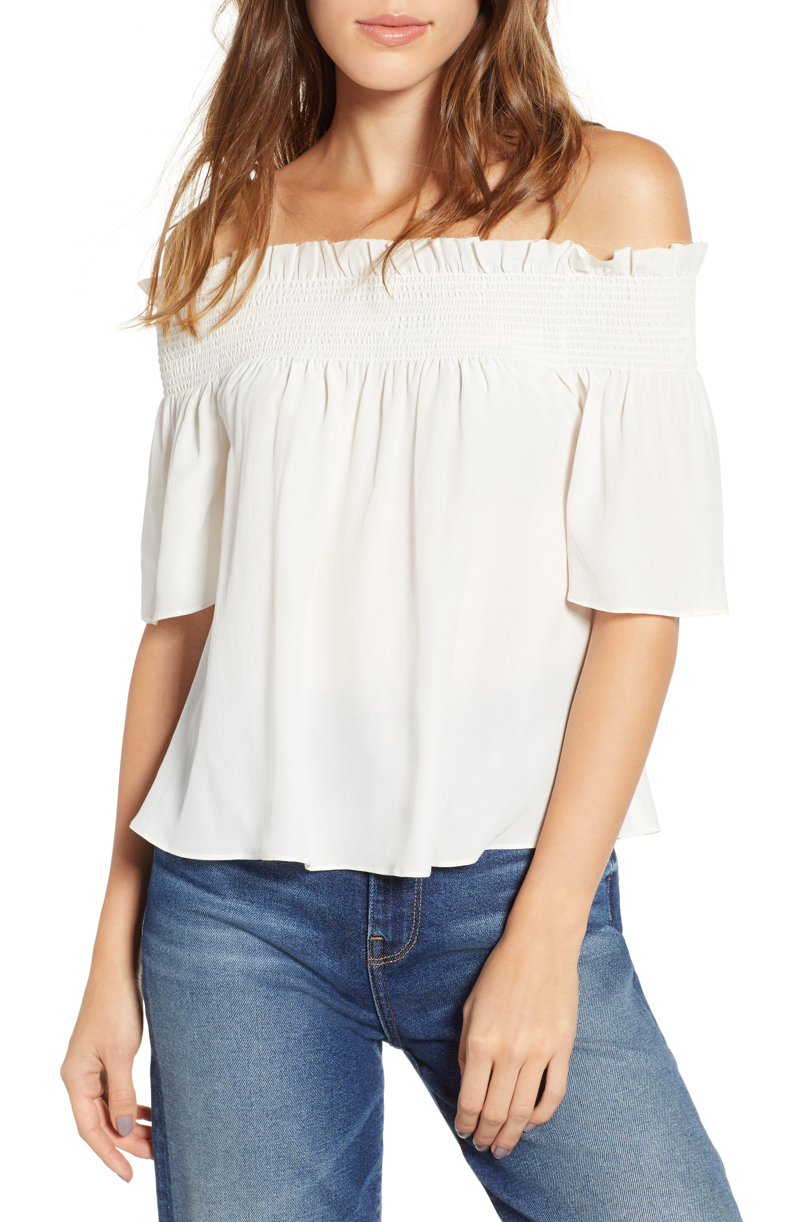7 FOR ALL MANKIND<SUP>®</SUP>, Off the Shoulder Smocked Silk Top, Main thumbnail 1, color, NATURAL WHITE