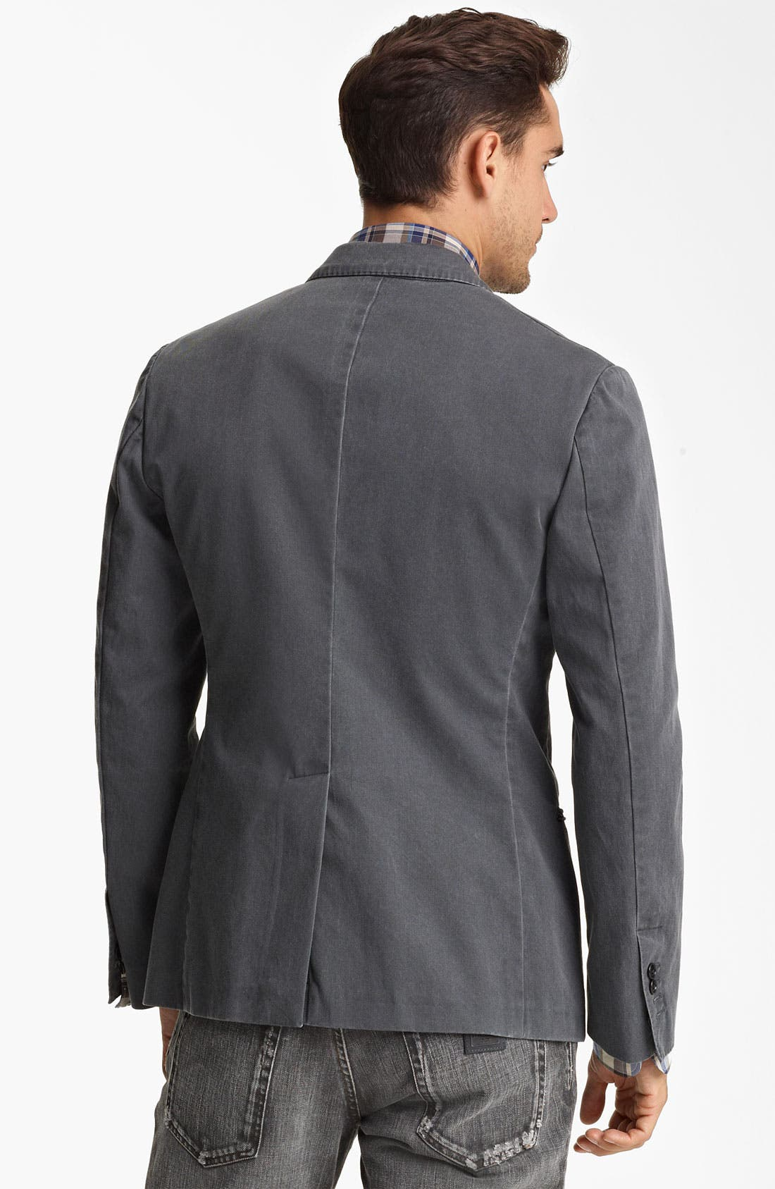 DOLCE&GABBANA, Washed Cotton Blazer, Alternate thumbnail 3, color, 021
