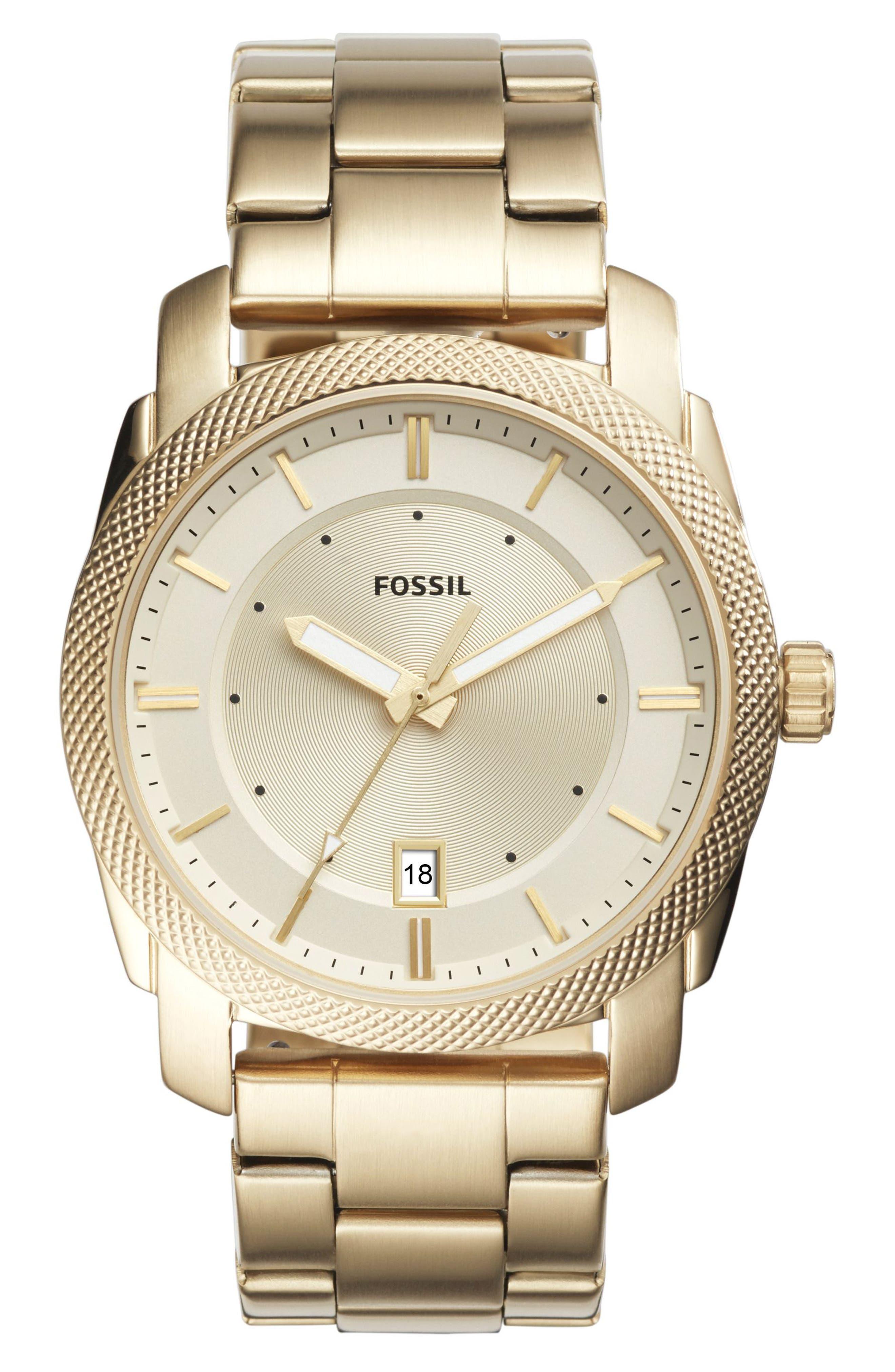FOSSIL, Machine Bracelet Watch, 42mm, Main thumbnail 1, color, GOLD