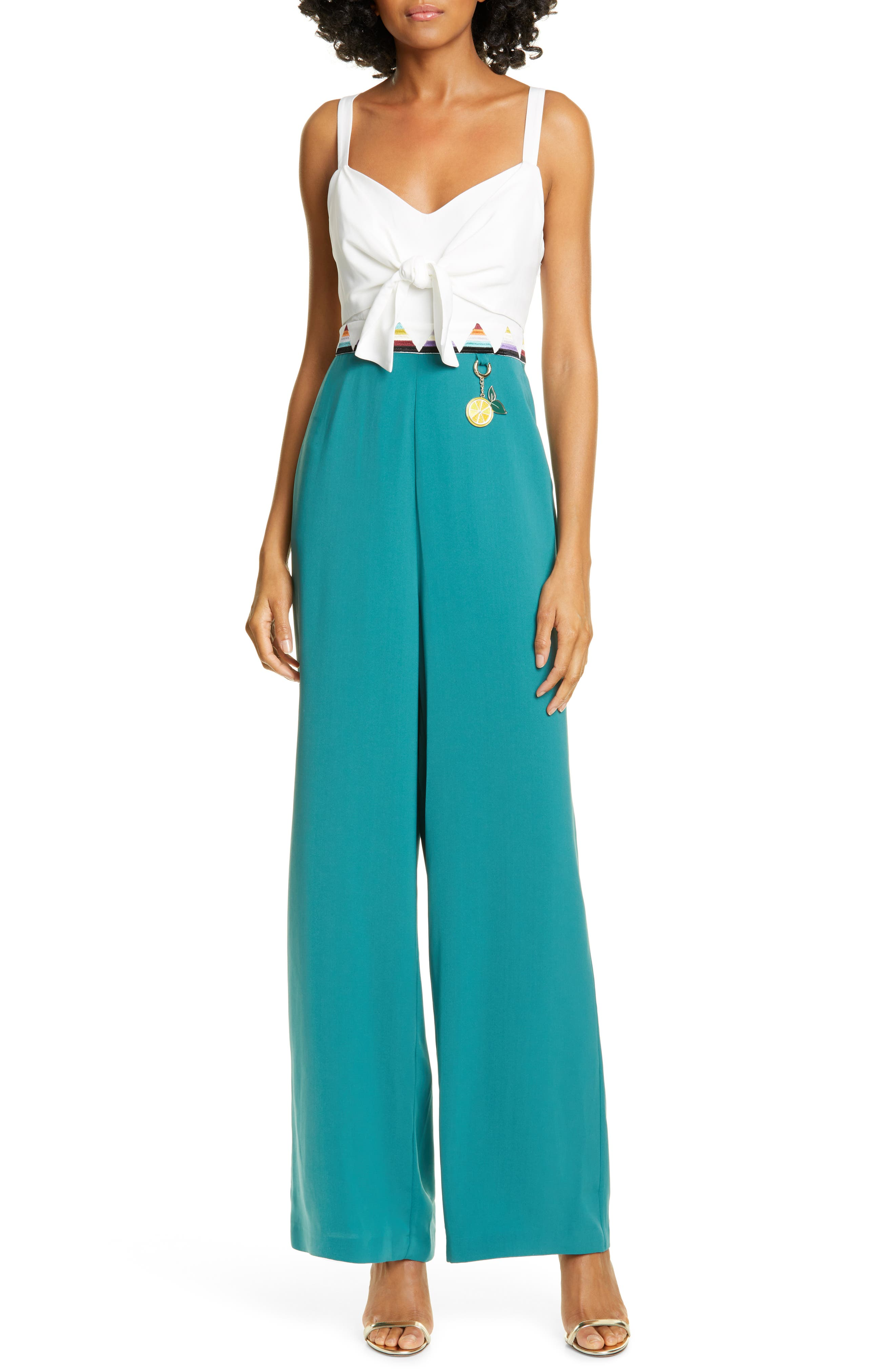 Ted Baker London Colour By Numbers Daaino Tie Front Jumpsuit, Green