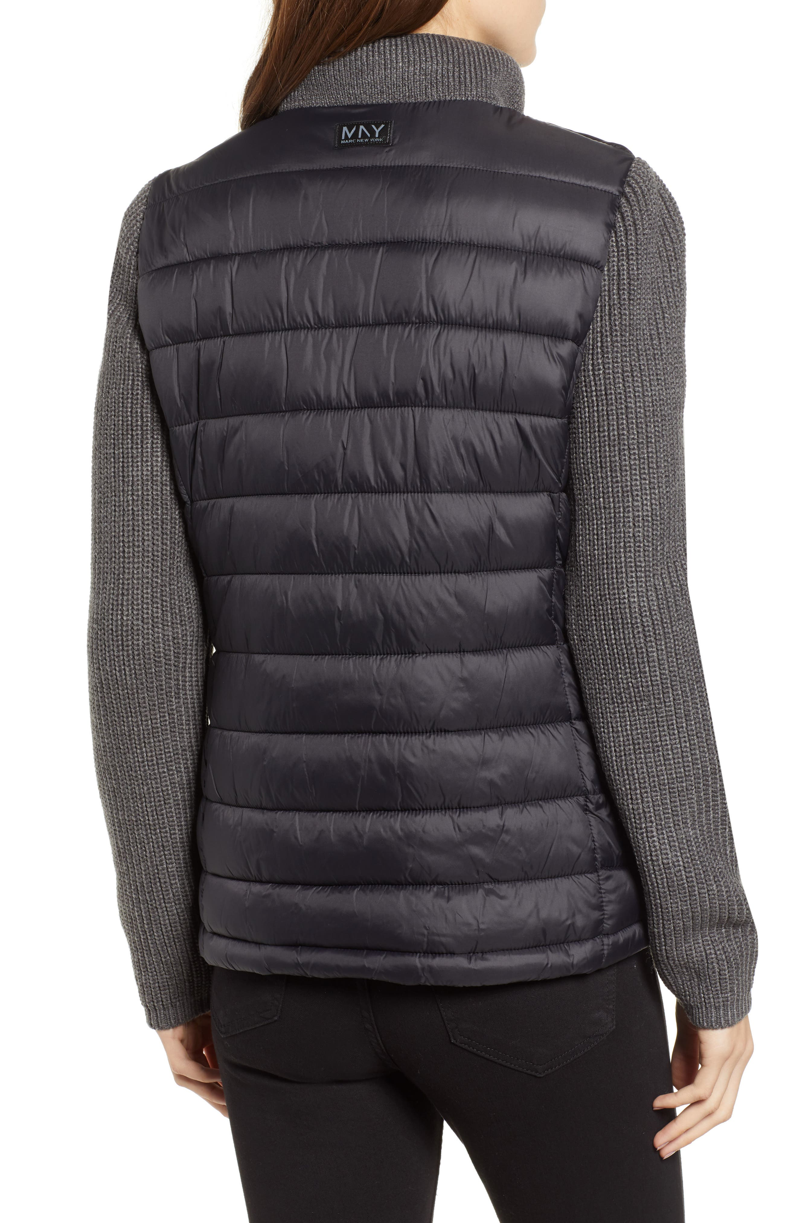 MARC NEW YORK, Mark New York Packable Knit Trim Puffer Jacket, Alternate thumbnail 2, color, BLACK/ GREY