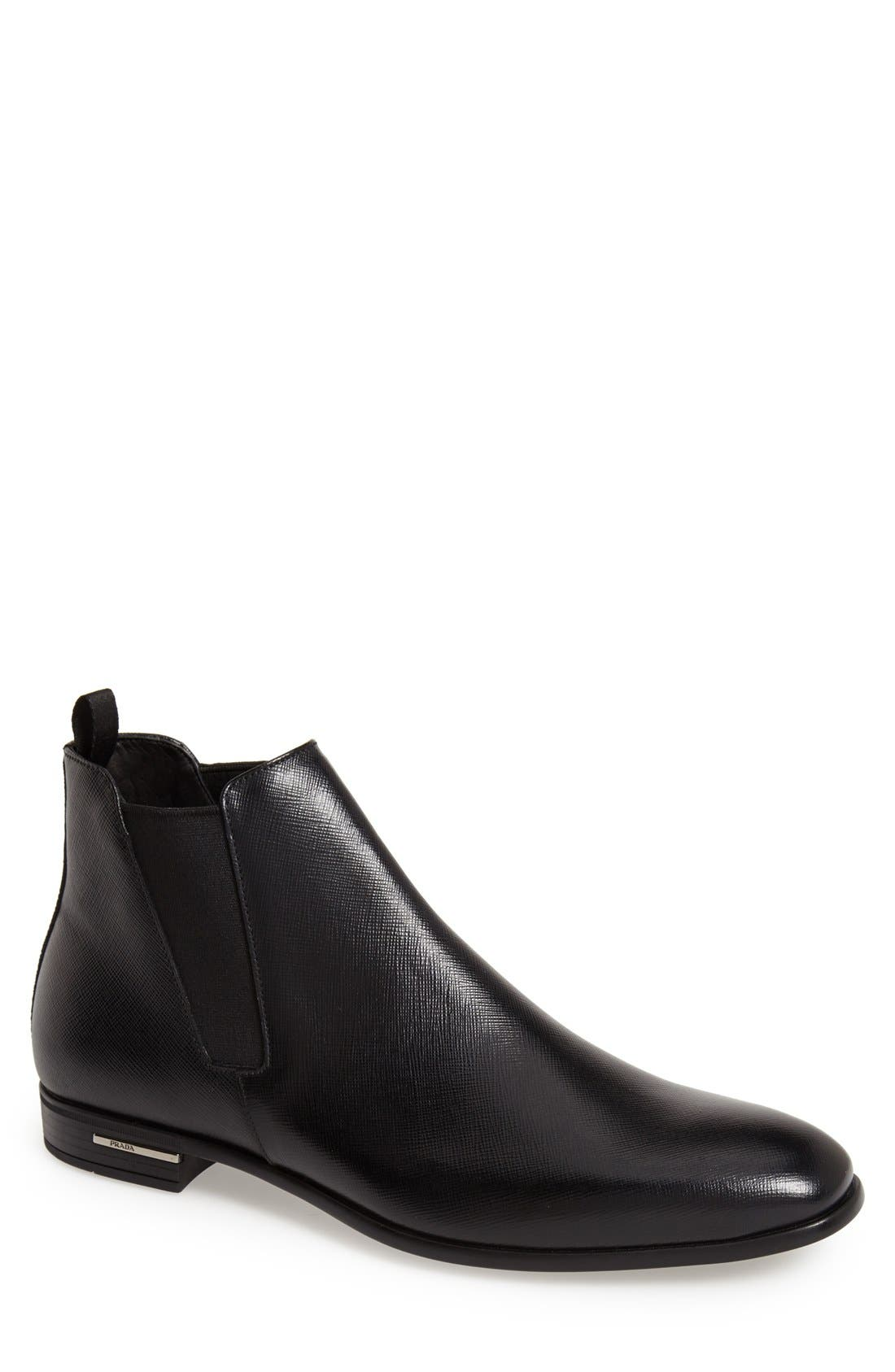 PRADA, Saffiano Leather Chelsea Boot, Main thumbnail 1, color, BLACK