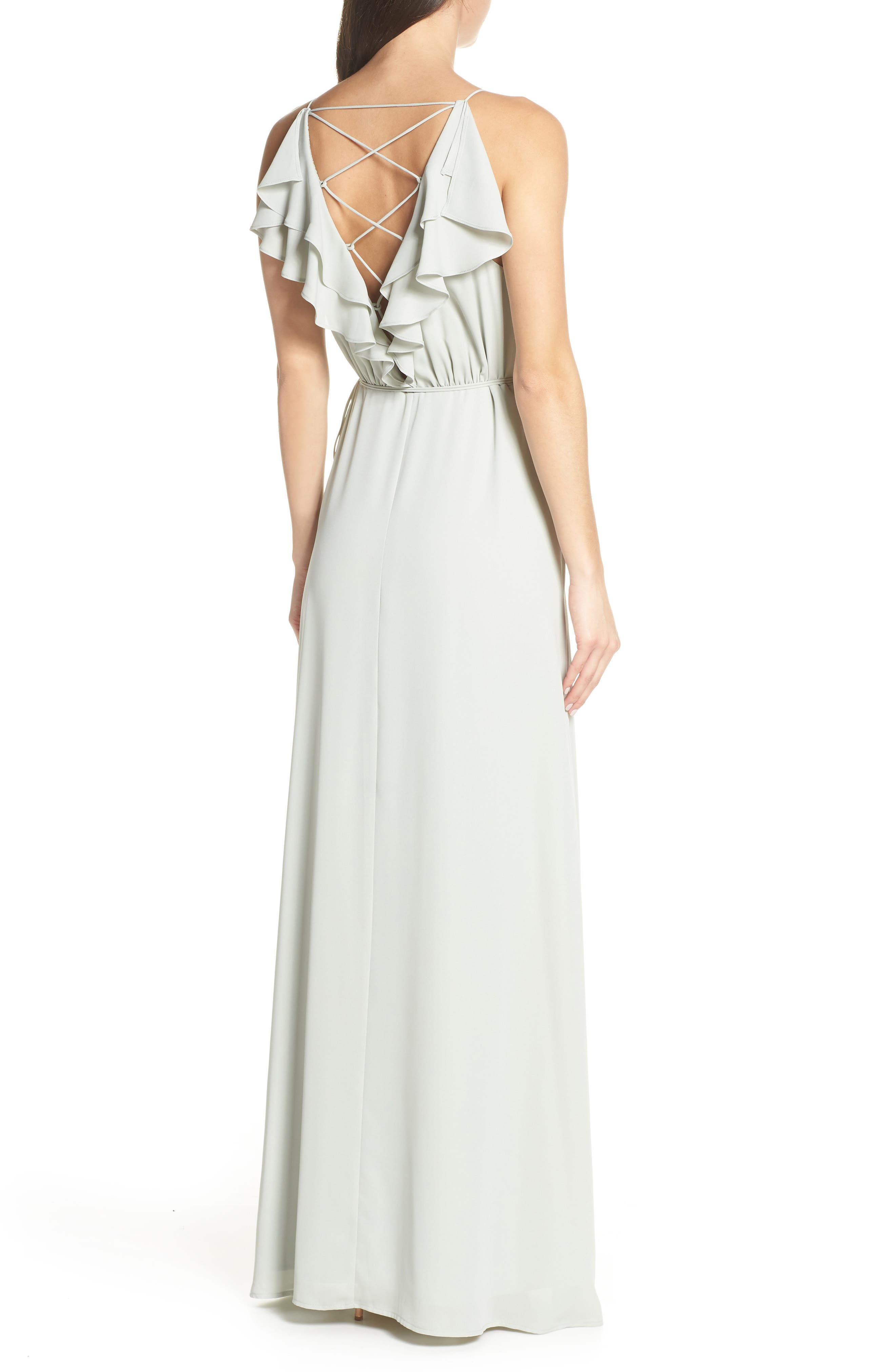 WAYF, Jamie Ruffle Wrap Gown, Alternate thumbnail 2, color, SAGE
