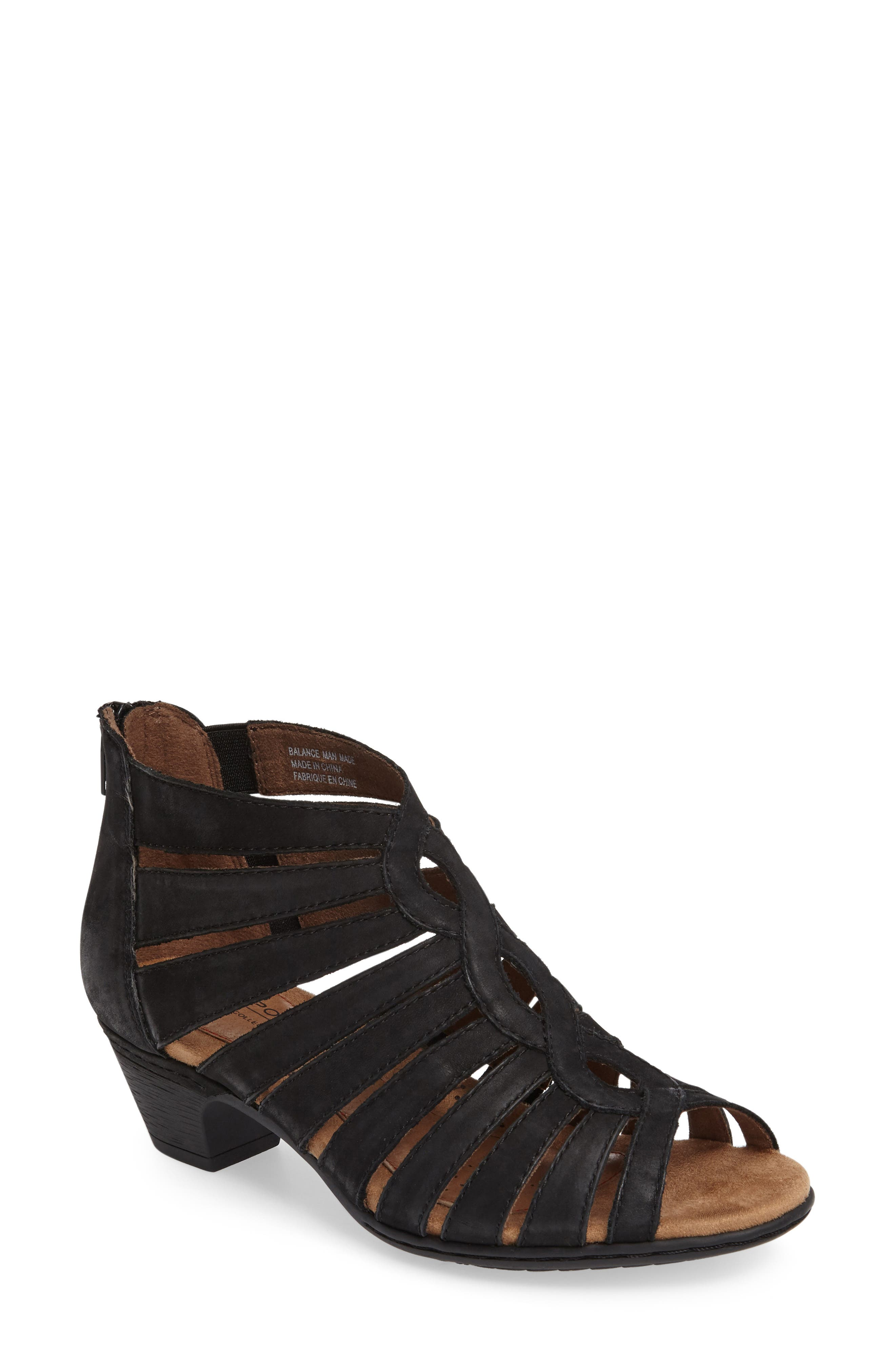 ROCKPORT COBB HILL, Abbott Caged Sandal, Main thumbnail 1, color, BLACK LEATHER