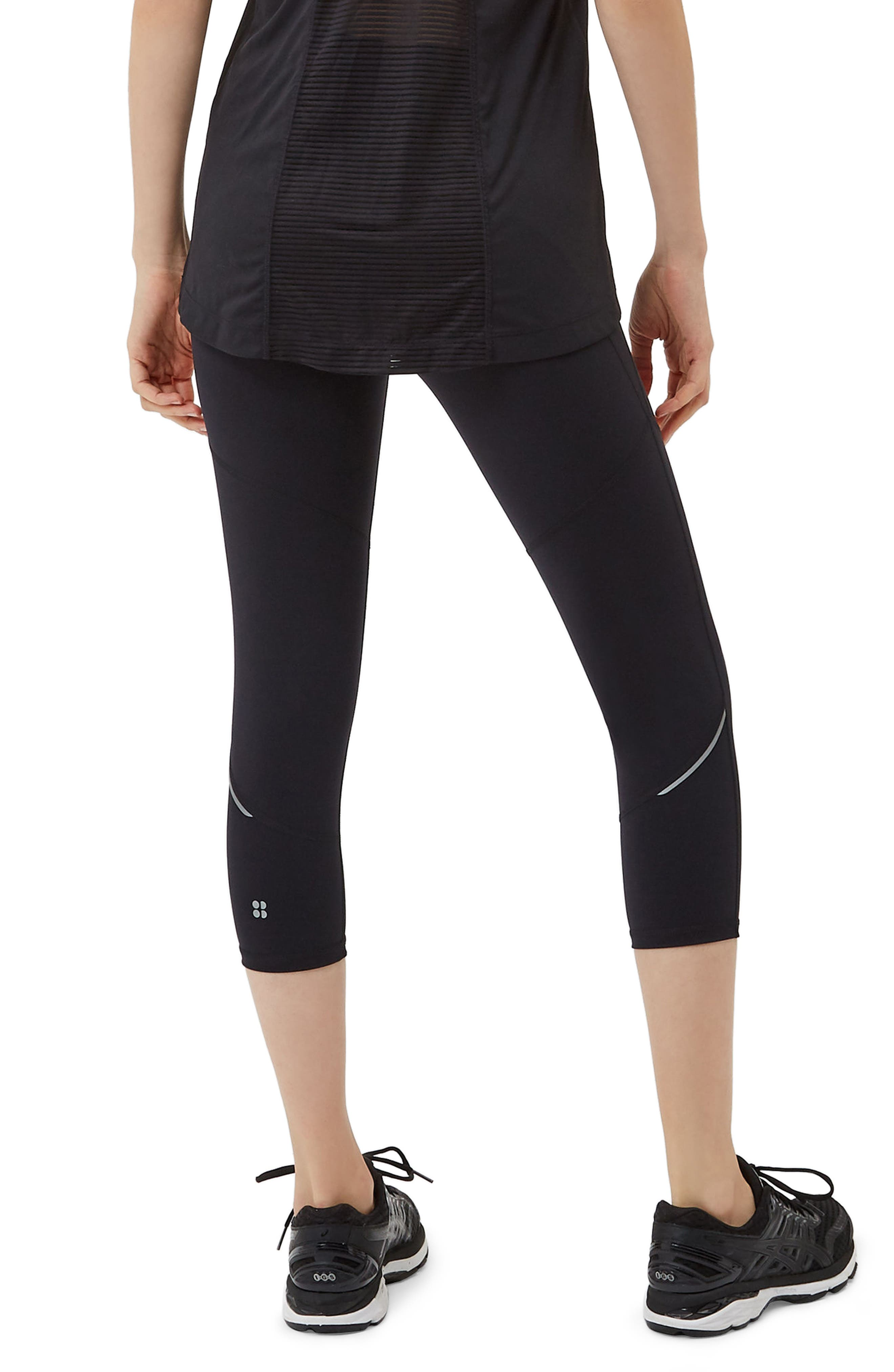 SWEATY BETTY, Power Workout Crop Leggings, Alternate thumbnail 4, color, BLACK