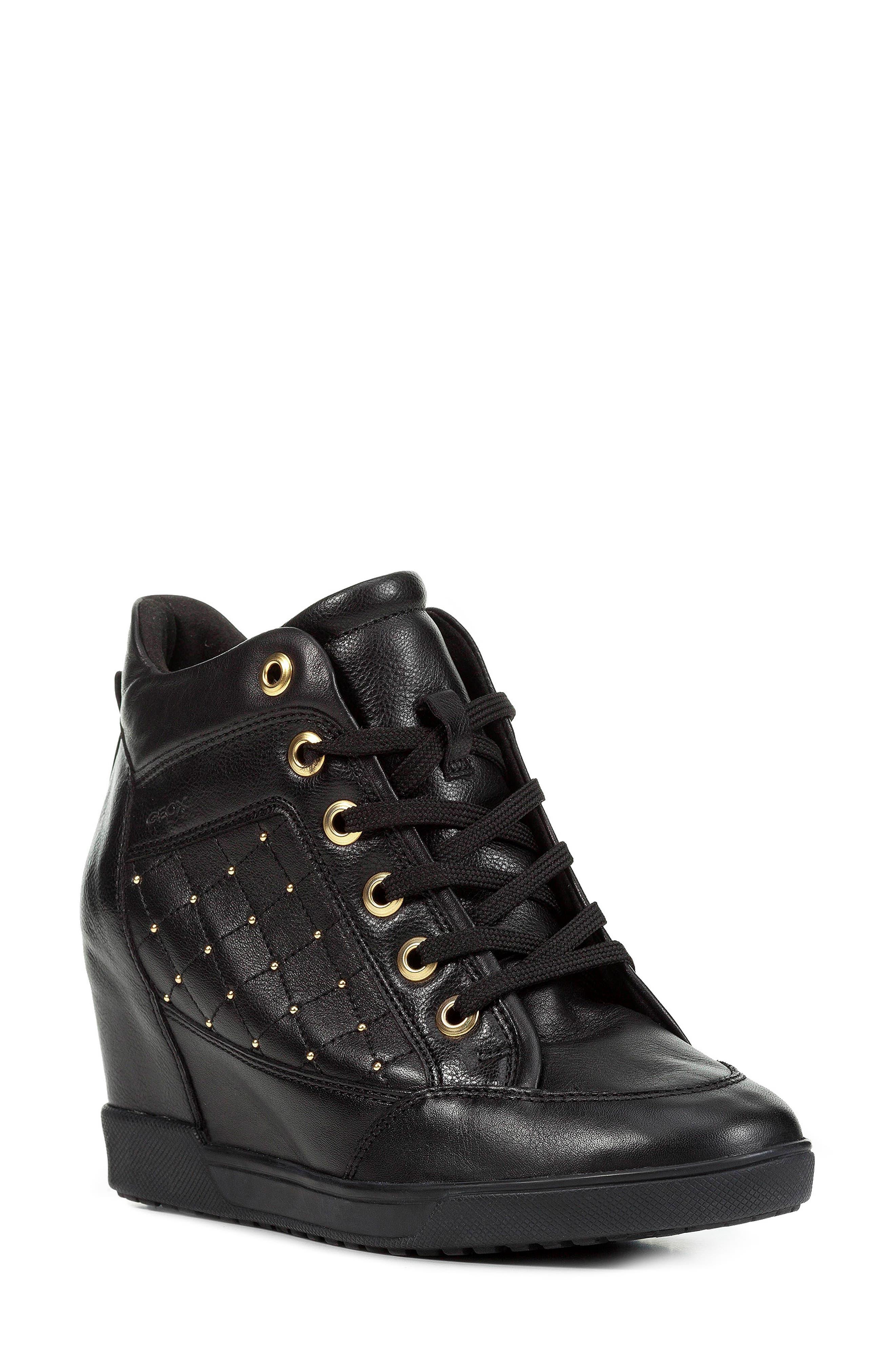 GEOX, Carum Wedge Sneaker, Main thumbnail 1, color, 001