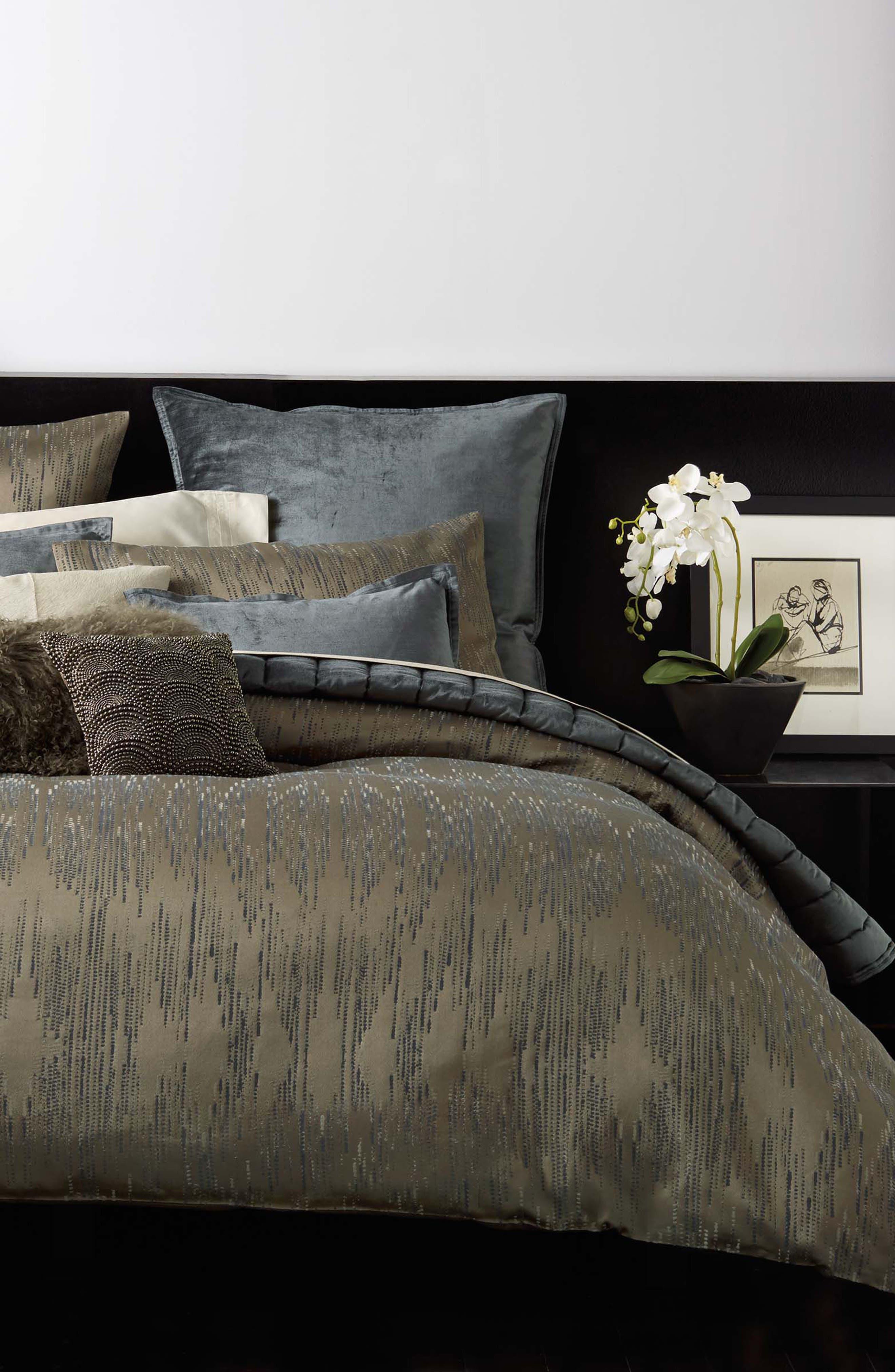 DONNA KARAN NEW YORK, Exhale Flokati Genuine Sheepskin Pillow, Alternate thumbnail 2, color, TAUPE