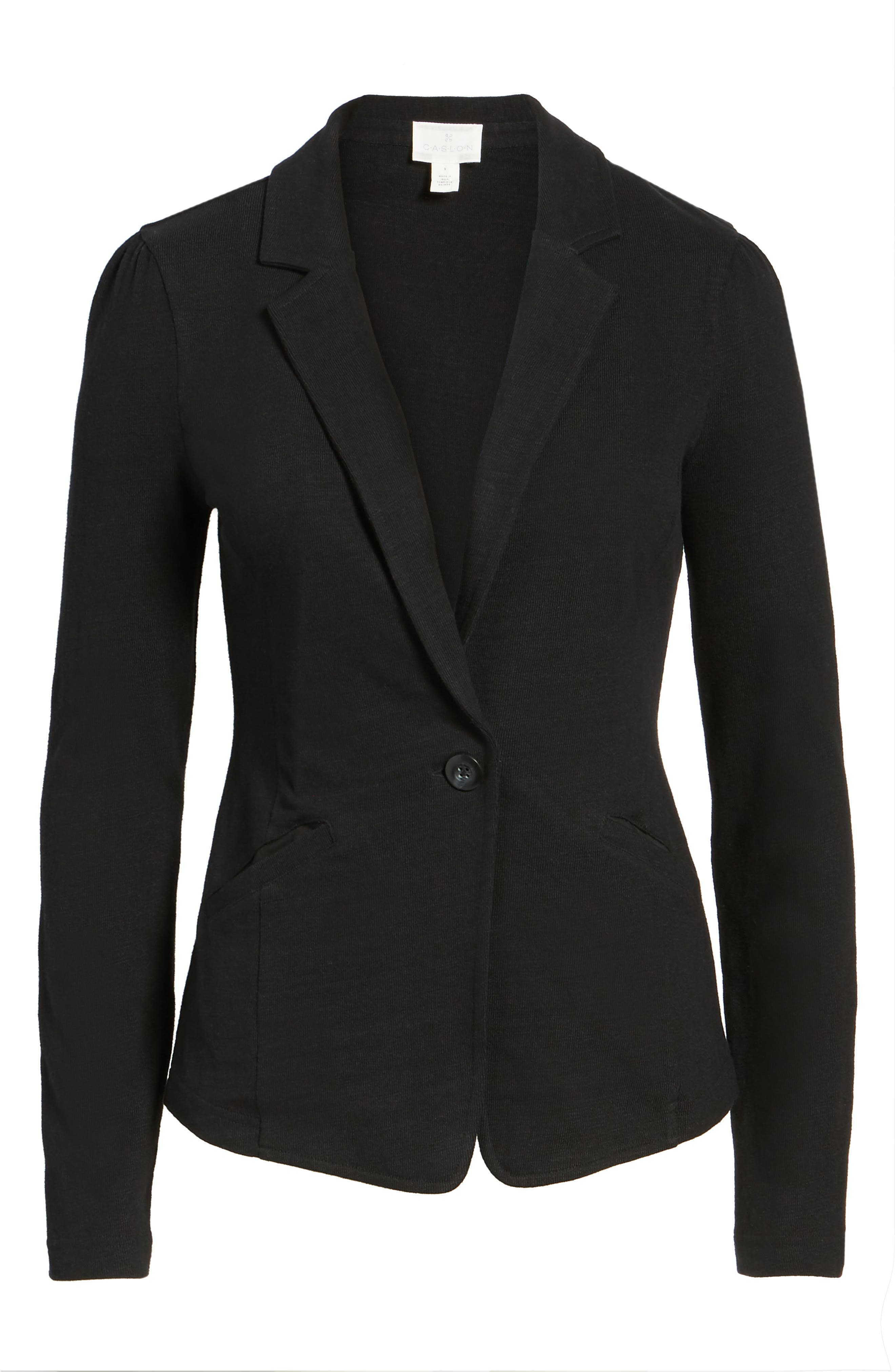 CASLON<SUP>®</SUP>, Knit One-Button Blazer, Alternate thumbnail 6, color, BLACK
