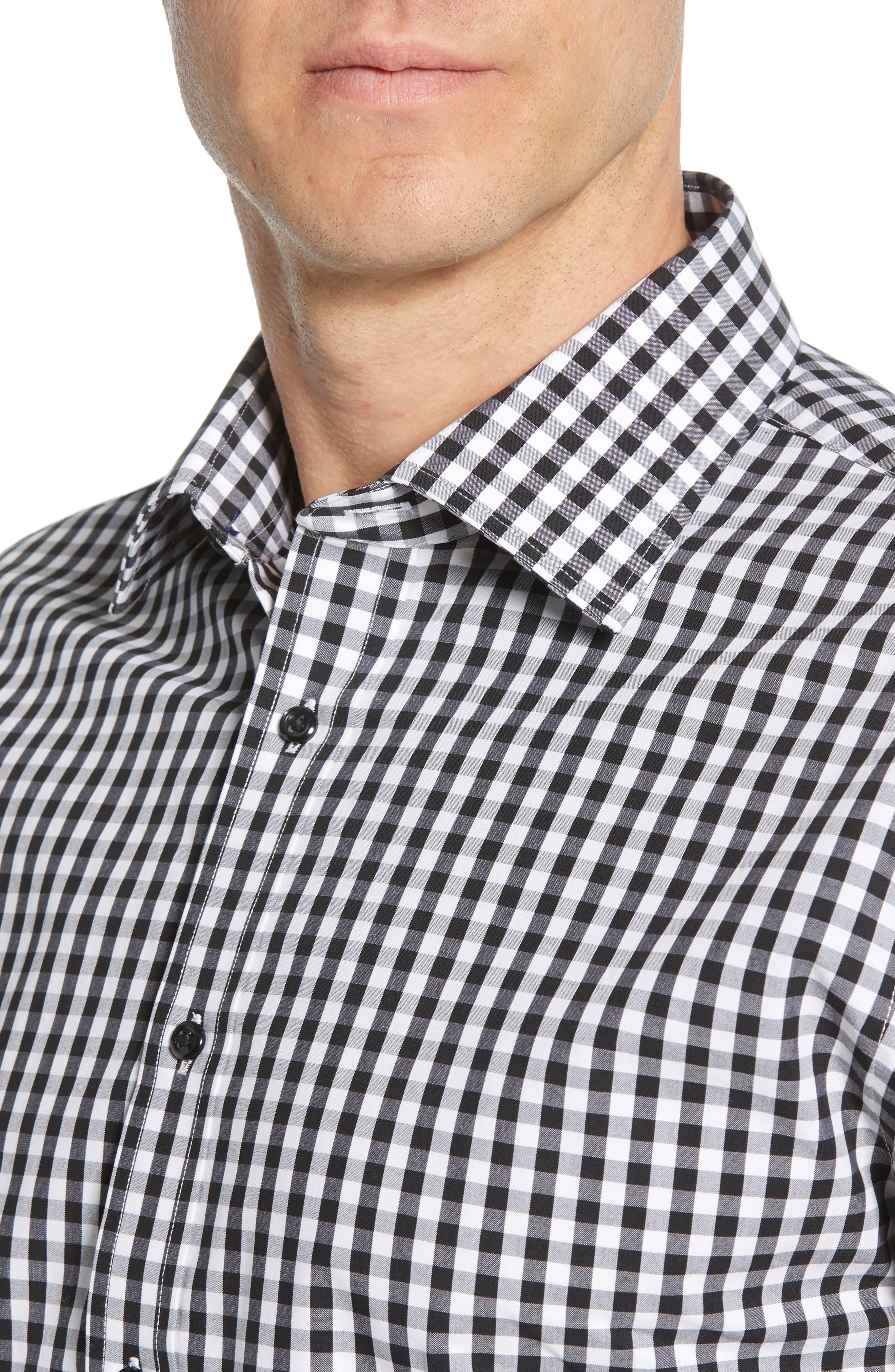 NORDSTROM MEN'S SHOP, Tech-Smart Traditional Fit Stretch Check Dress Shirt, Alternate thumbnail 2, color, BLACK ROCK