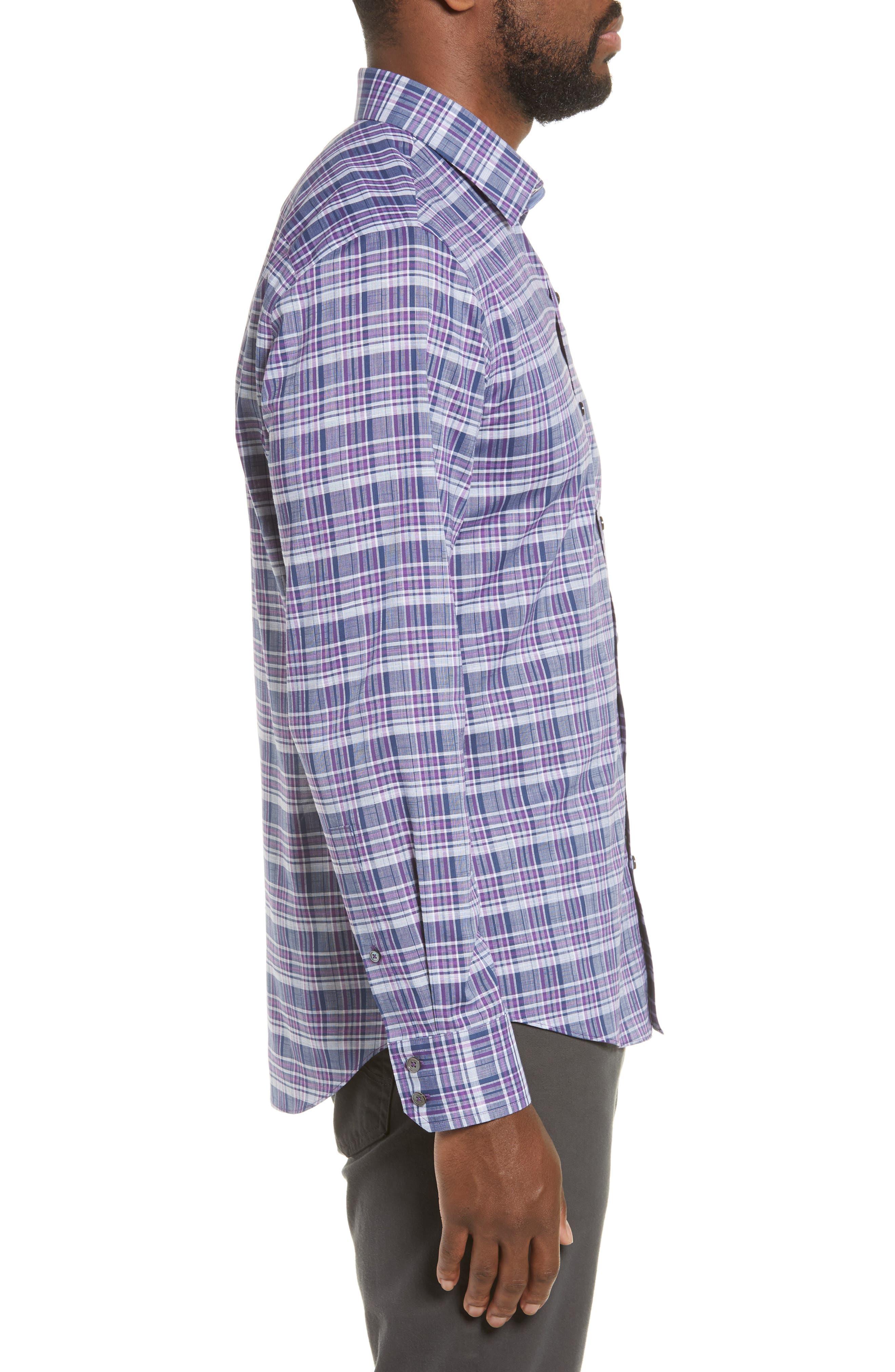ZACHARY PRELL, Caro Regular Fit Sport Shirt, Alternate thumbnail 4, color, PURPLE