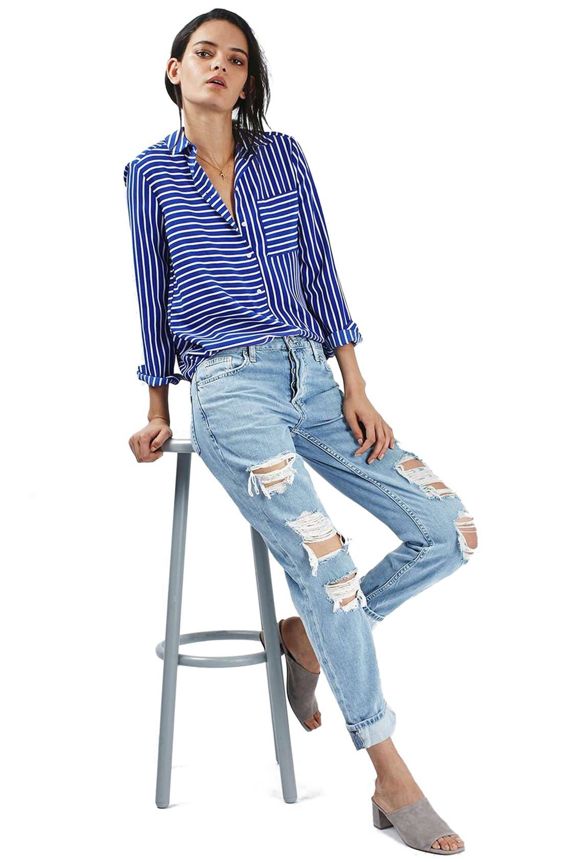TOPSHOP, 'Hayden' Super Ripped Boyfriend Jeans, Alternate thumbnail 4, color, 420