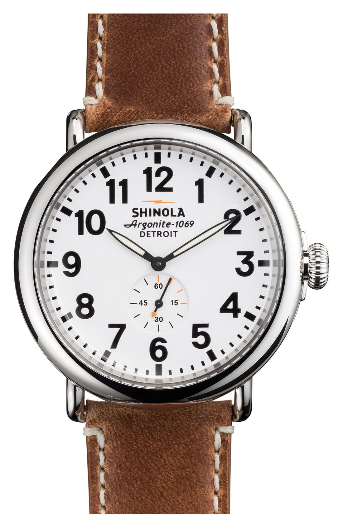 SHINOLA 'The Runwell' Leather Strap Watch, 47mm, Main, color, BROWN