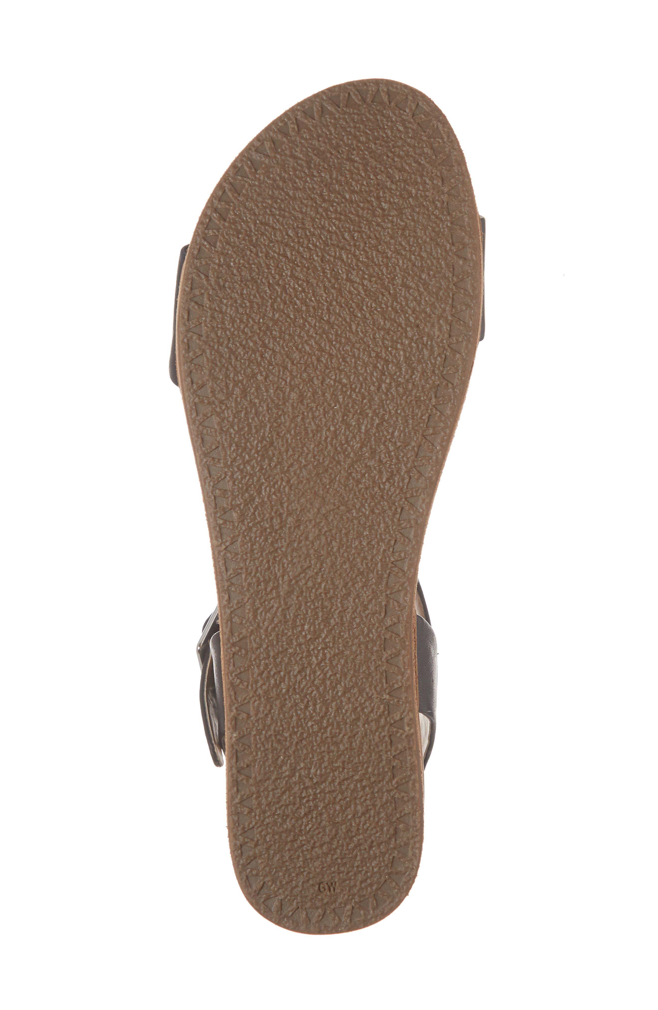 STEVE MADDEN, Aida Platform Sandal, Alternate thumbnail 6, color, BLACK LEATHER