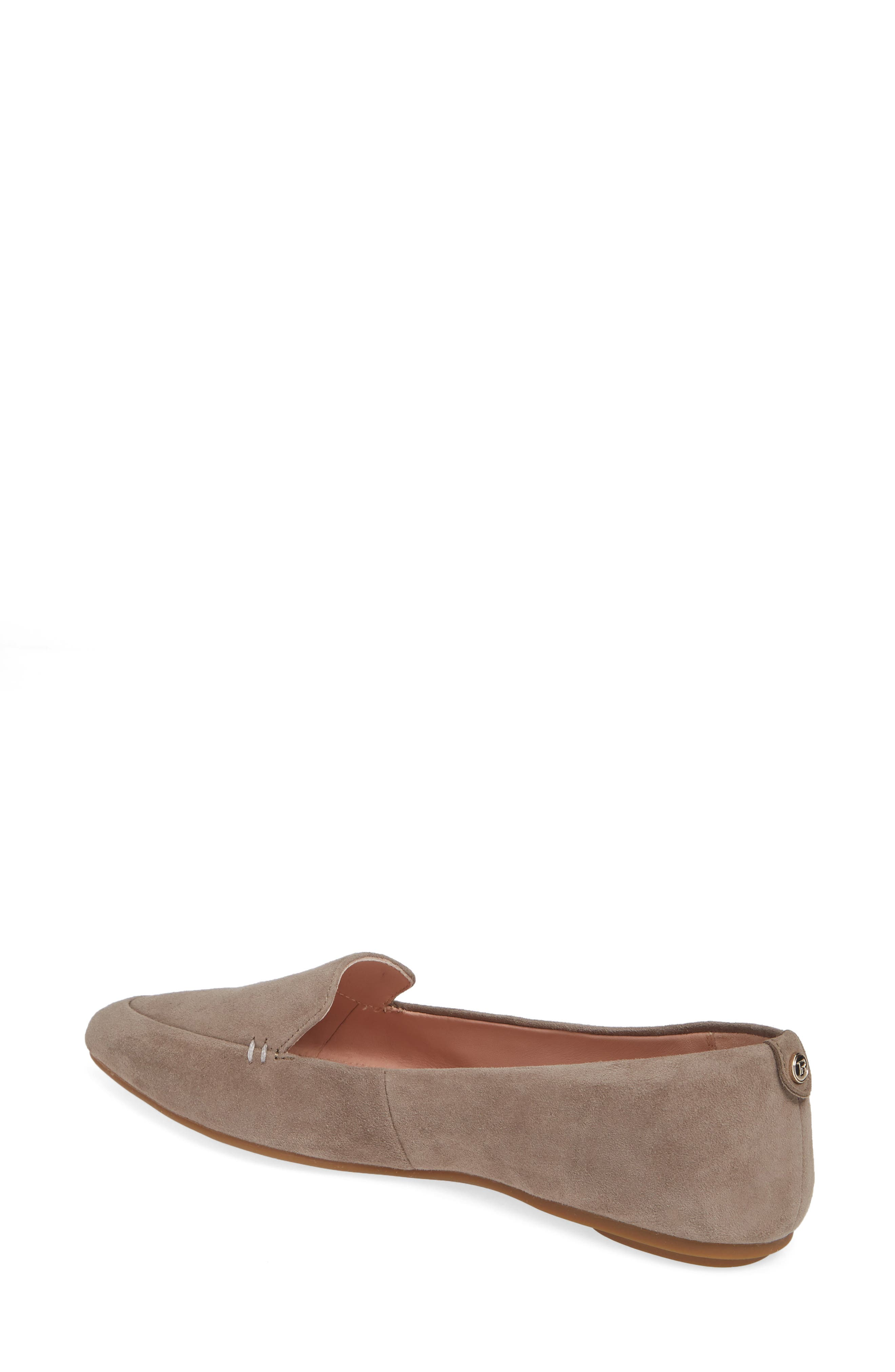 TARYN ROSE, Faye Pointy Toe Loafer, Alternate thumbnail 2, color, CLAY SUEDE