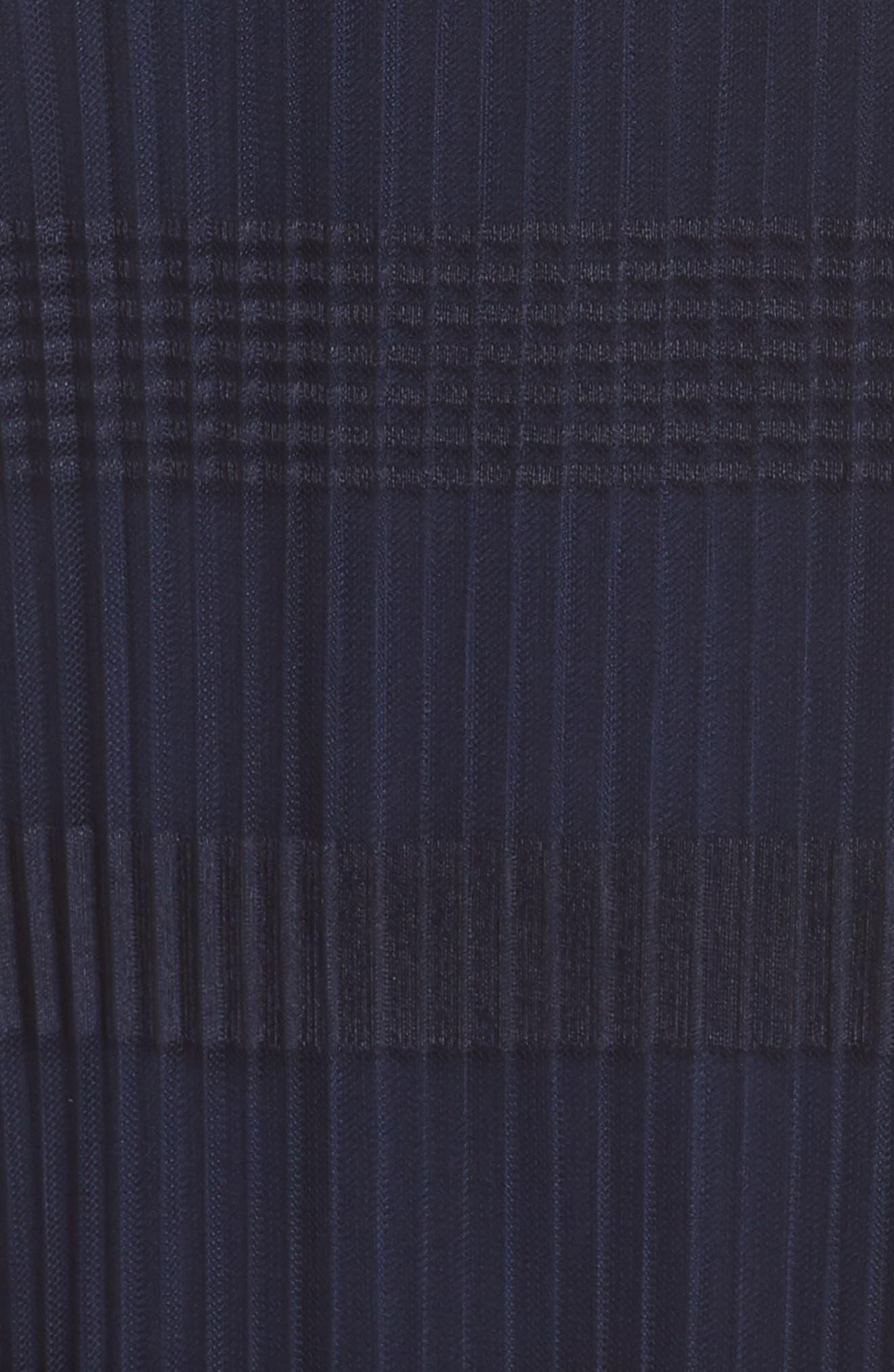 JULIA JORDAN, Stripe Pleated Chiffon Shift Dress, Alternate thumbnail 6, color, NAVY