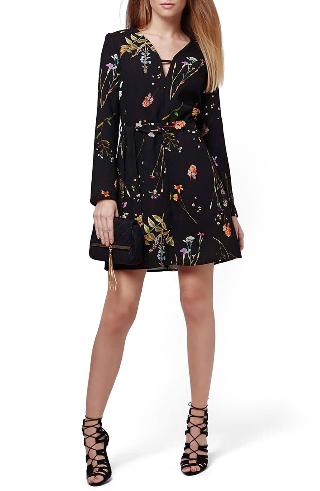 TOPSHOP, Belted Floral Tunic Dress, Main thumbnail 1, color, 001