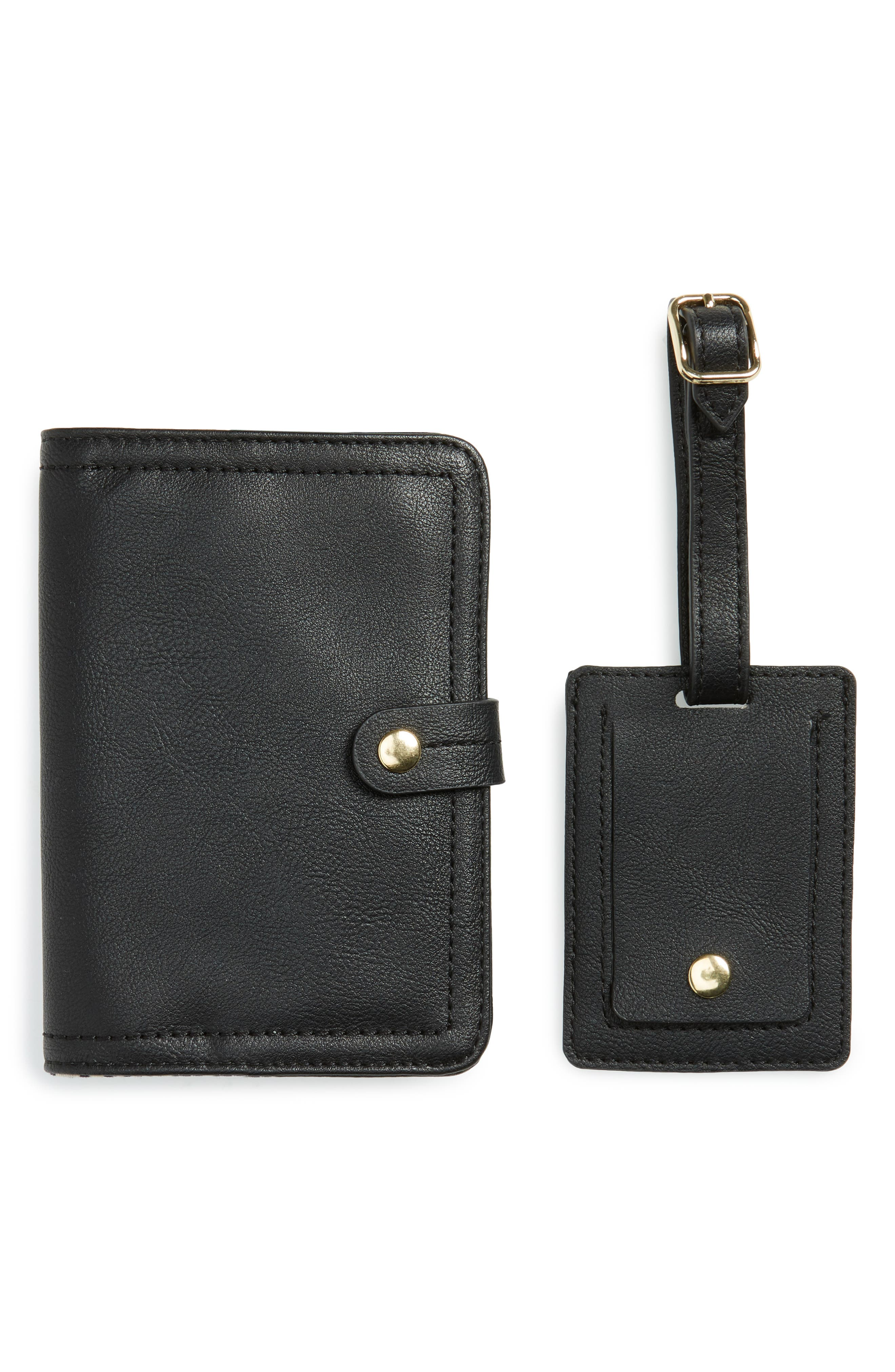 SOLE SOCIETY Faux Leather Passport Case & Luggage Tag Set, Main, color, BLACK