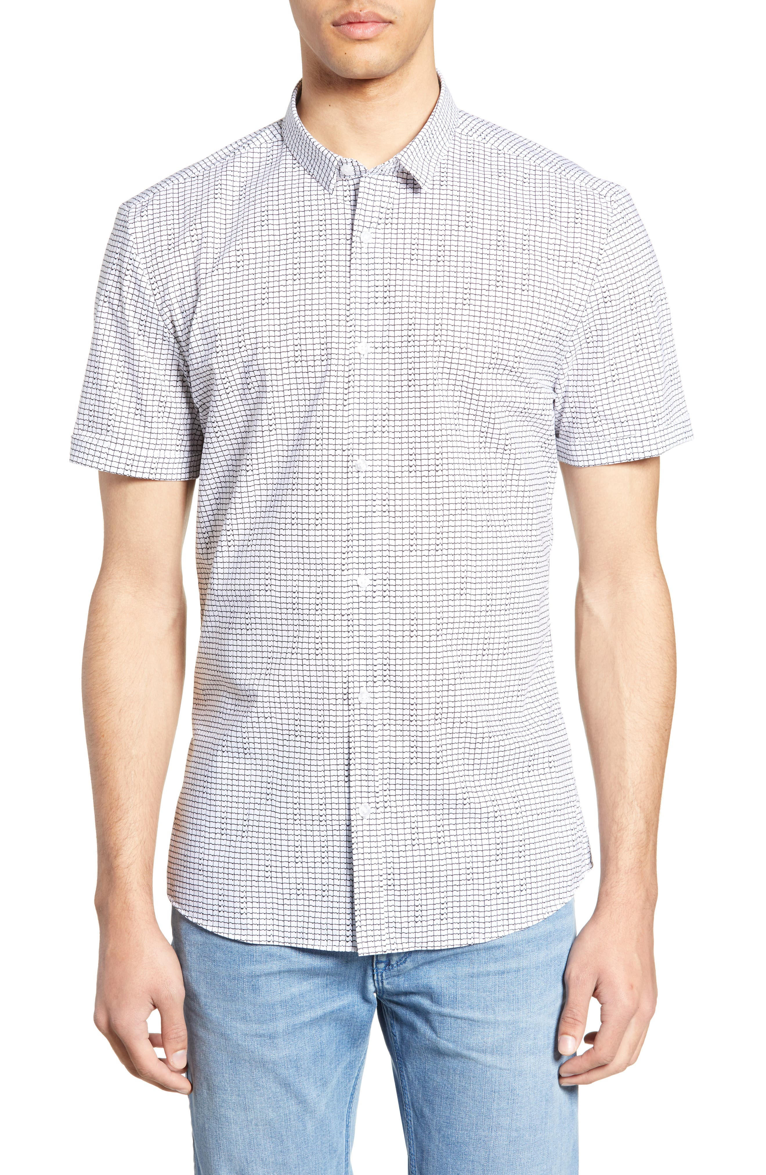 HUGO, Empson Slim Fit Print Sport Shirt, Main thumbnail 1, color, WHITE