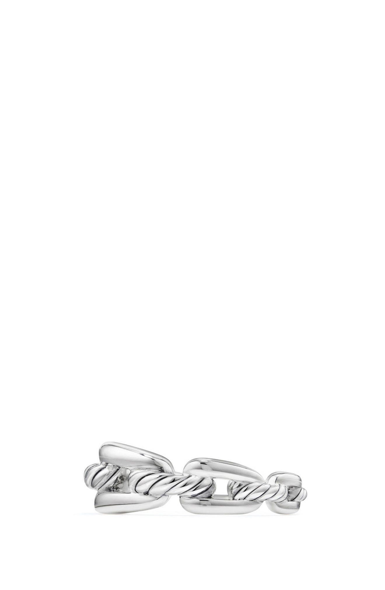 DAVID YURMAN, Wellesley Chain Link Ring with Diamonds, Alternate thumbnail 2, color, SILVER