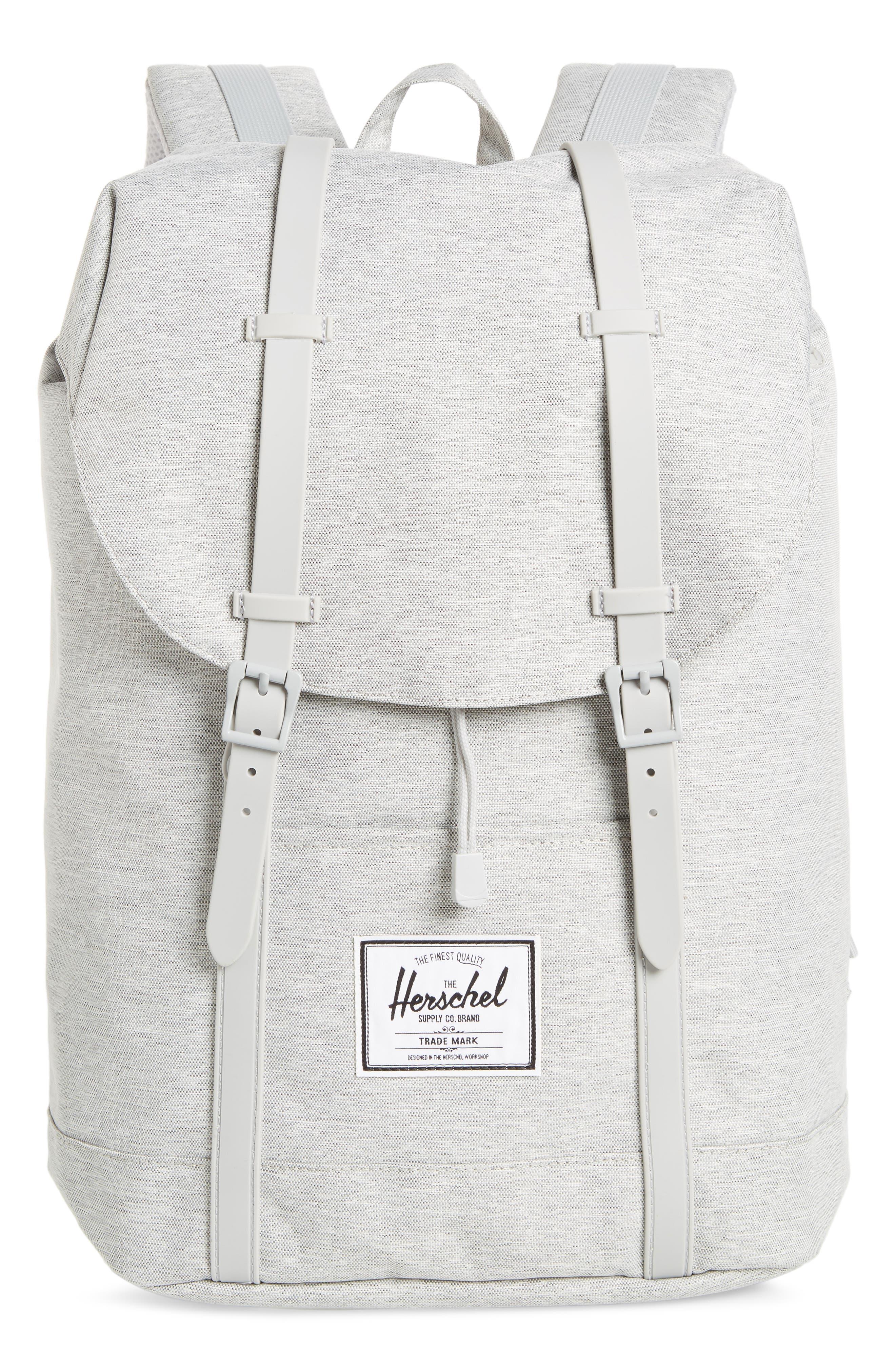 HERSCHEL SUPPLY CO. Retreat Backpack, Main, color, LIGHT GREY CROSSHATCH/ GREY