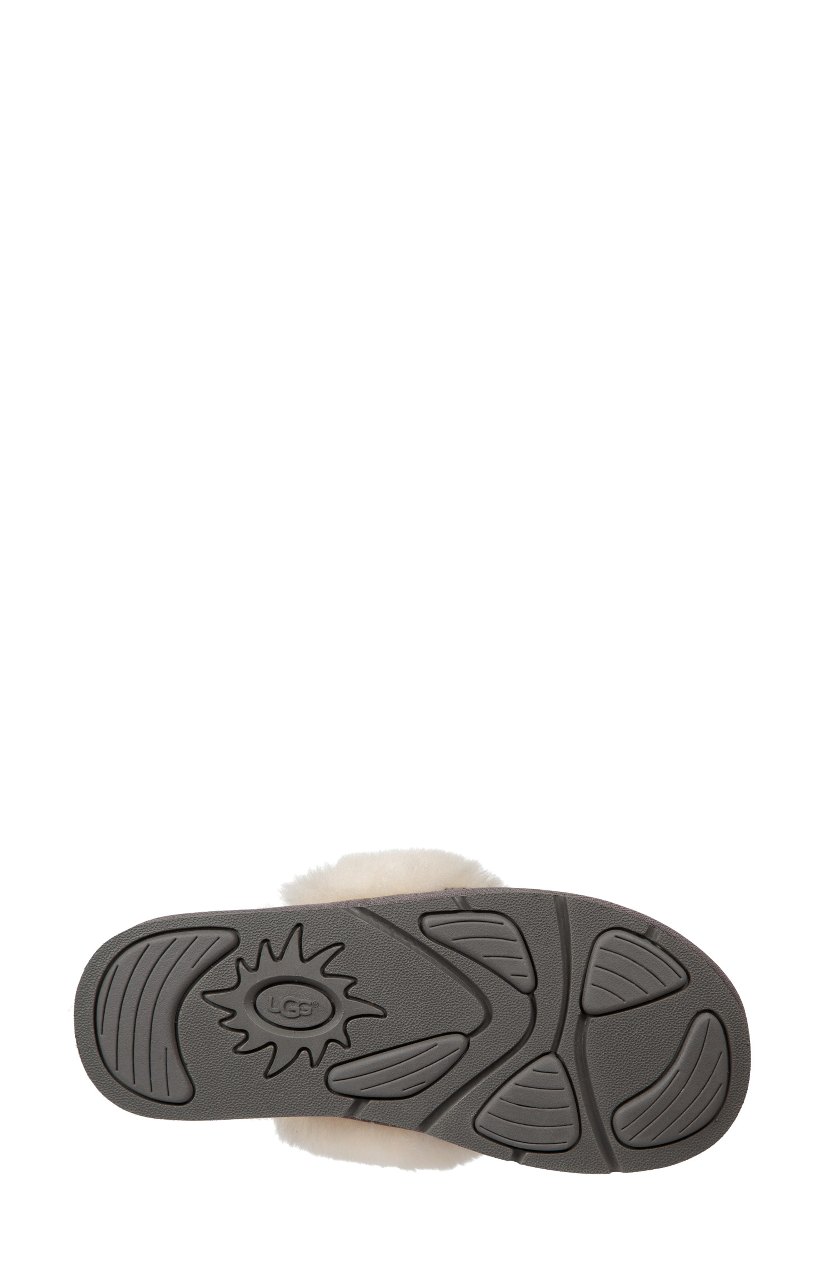 UGG<SUP>®</SUP>, Cozy Knit Genuine Shearling Slipper, Alternate thumbnail 5, color, CHARCOAL