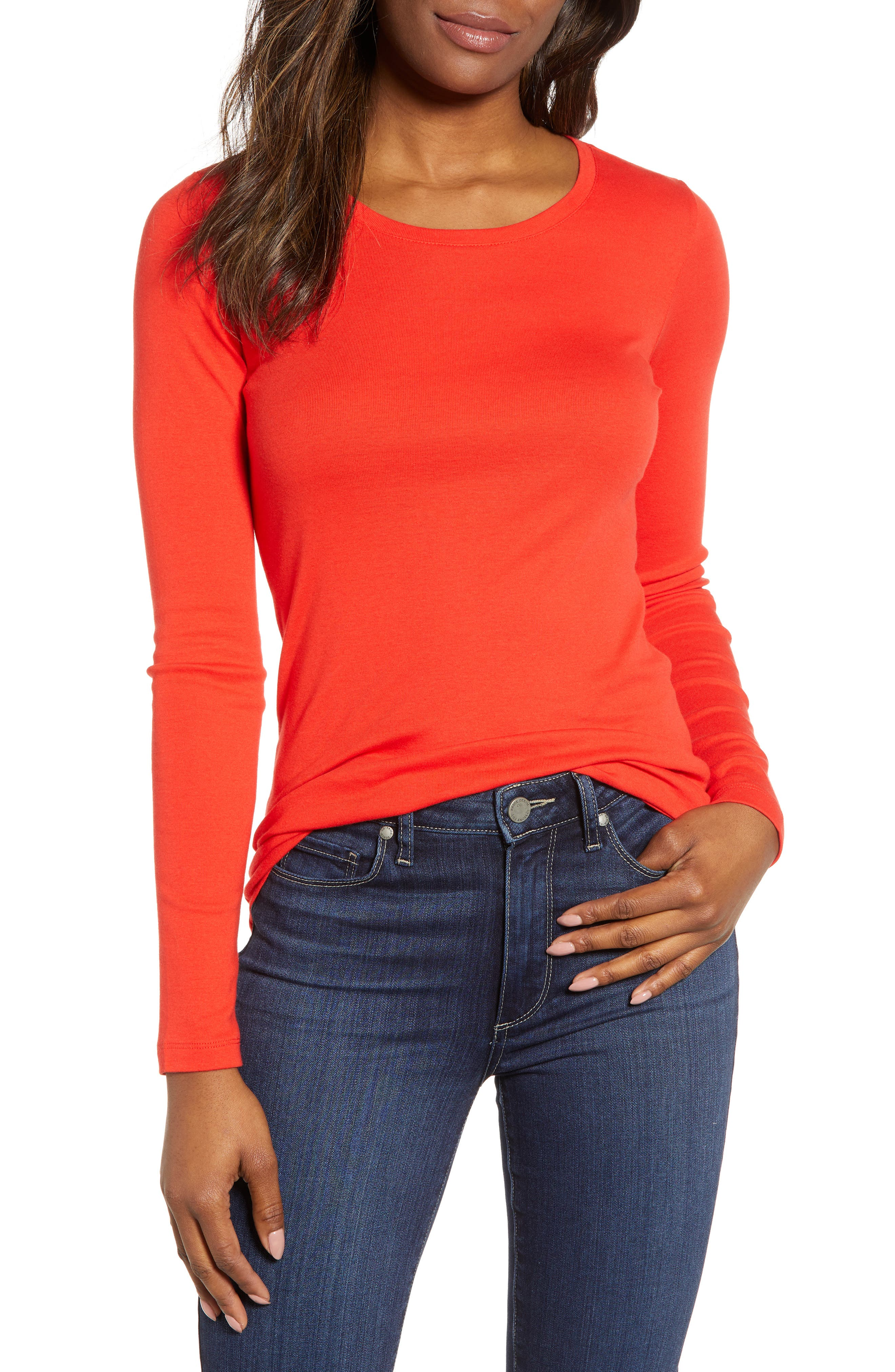 CASLON<SUP>®</SUP>, Long Sleeve Scoop Neck Cotton Tee, Main thumbnail 1, color, RED SCARLET