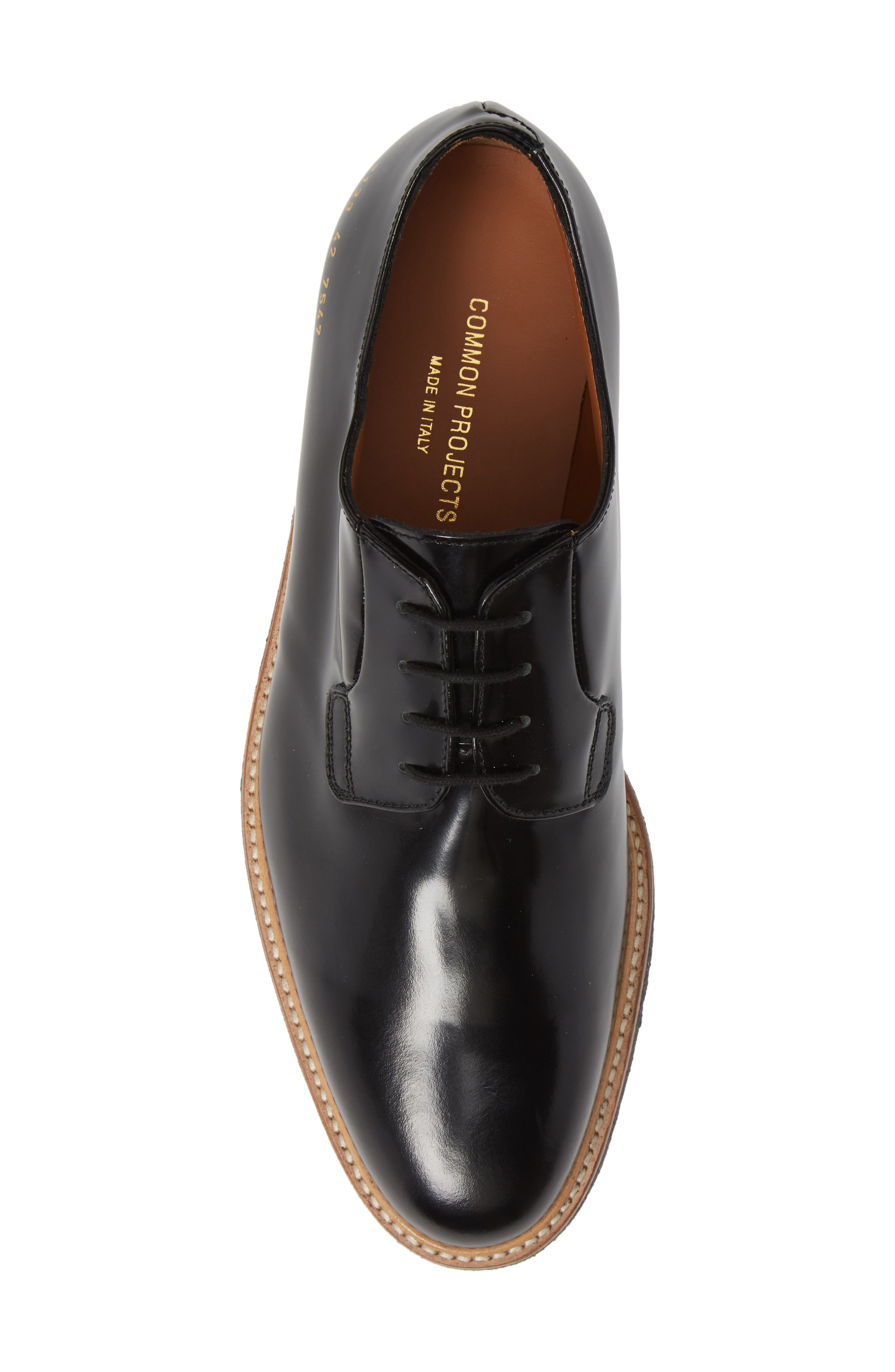 COMMON PROJECTS, Plain Toe Derby, Alternate thumbnail 5, color, BLACK SHINE