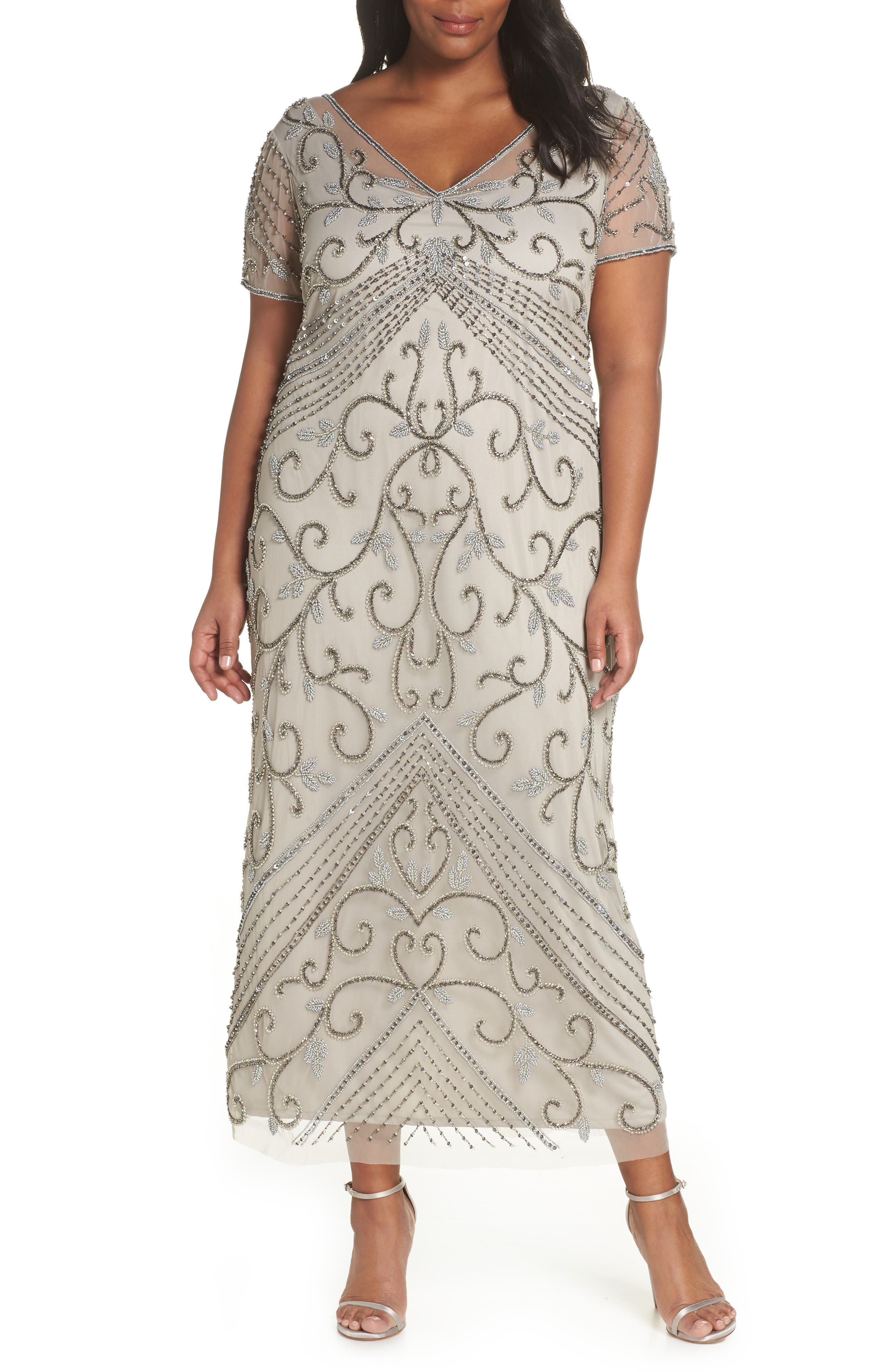 PISARRO NIGHTS Beaded Mesh Gown, Main, color, SILVER