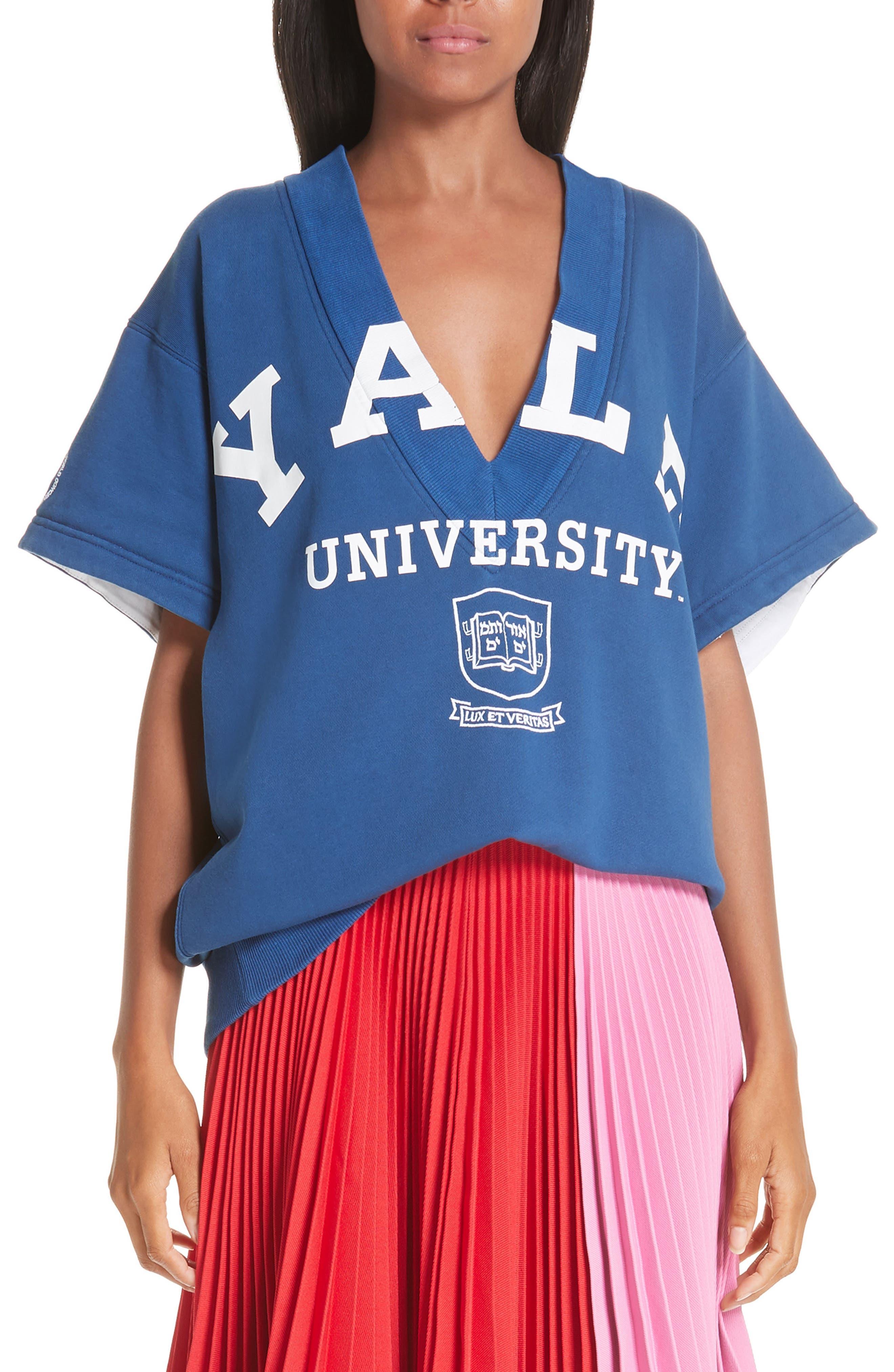 CALVIN KLEIN 205W39NYC, Yale Short Sleeve Sweatshirt, Main thumbnail 1, color, YALE BLUE