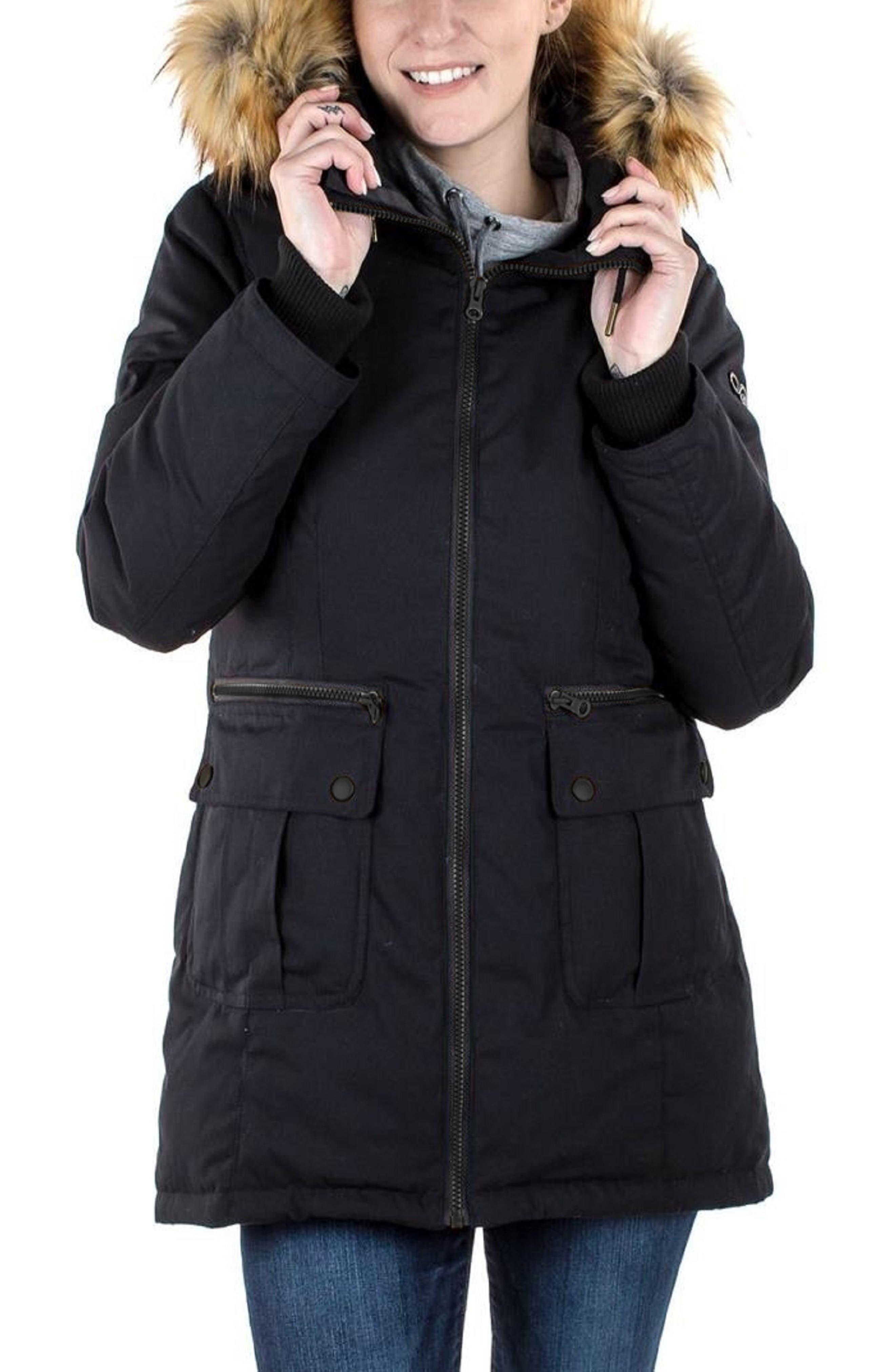 MODERN ETERNITY, Convertible Down 3-in-1 Maternity Jacket, Alternate thumbnail 4, color, BLACK