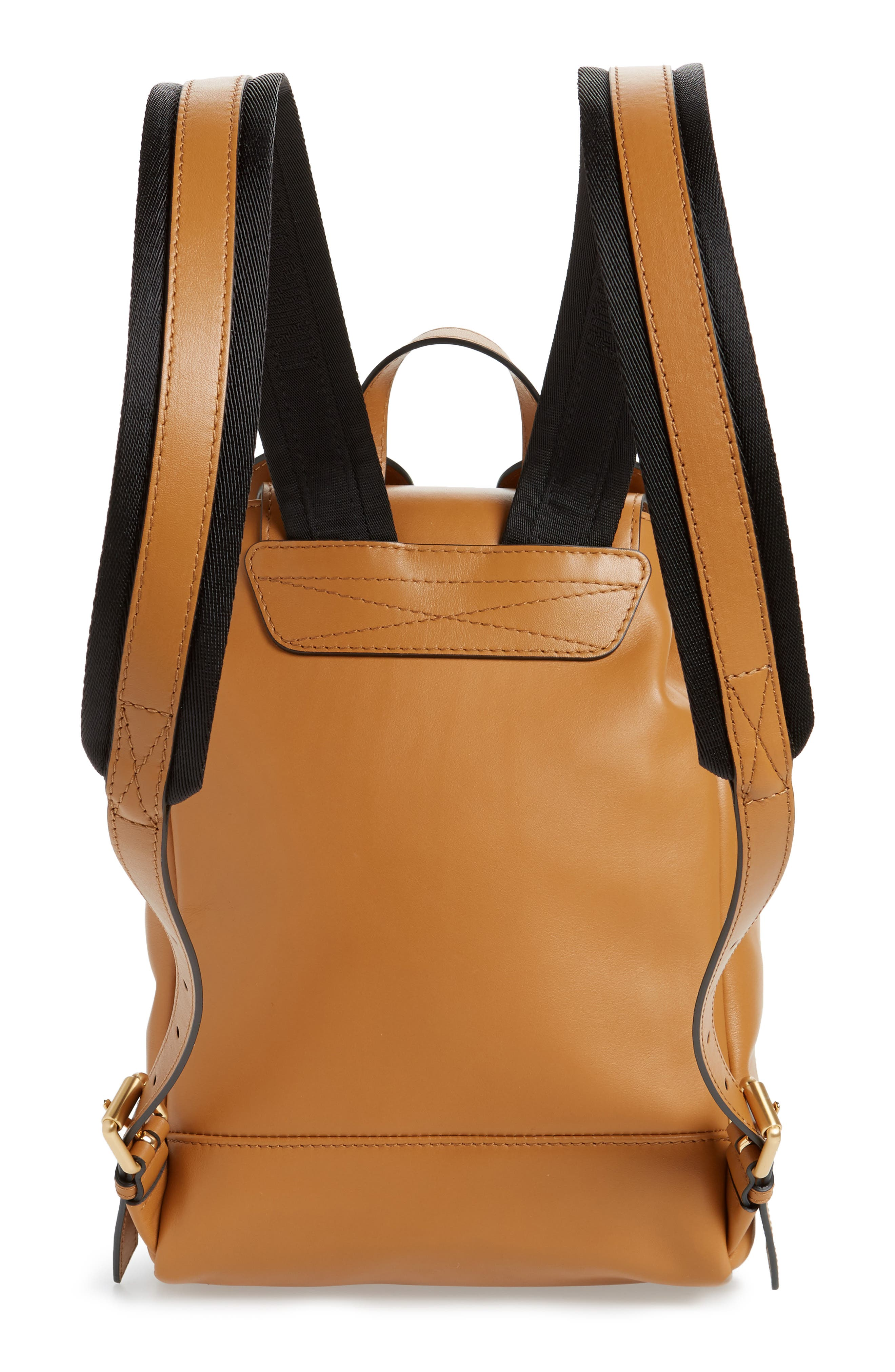 MOSCHINO, Teddy Bear Faux Leather Backpack, Alternate thumbnail 3, color, BROWN