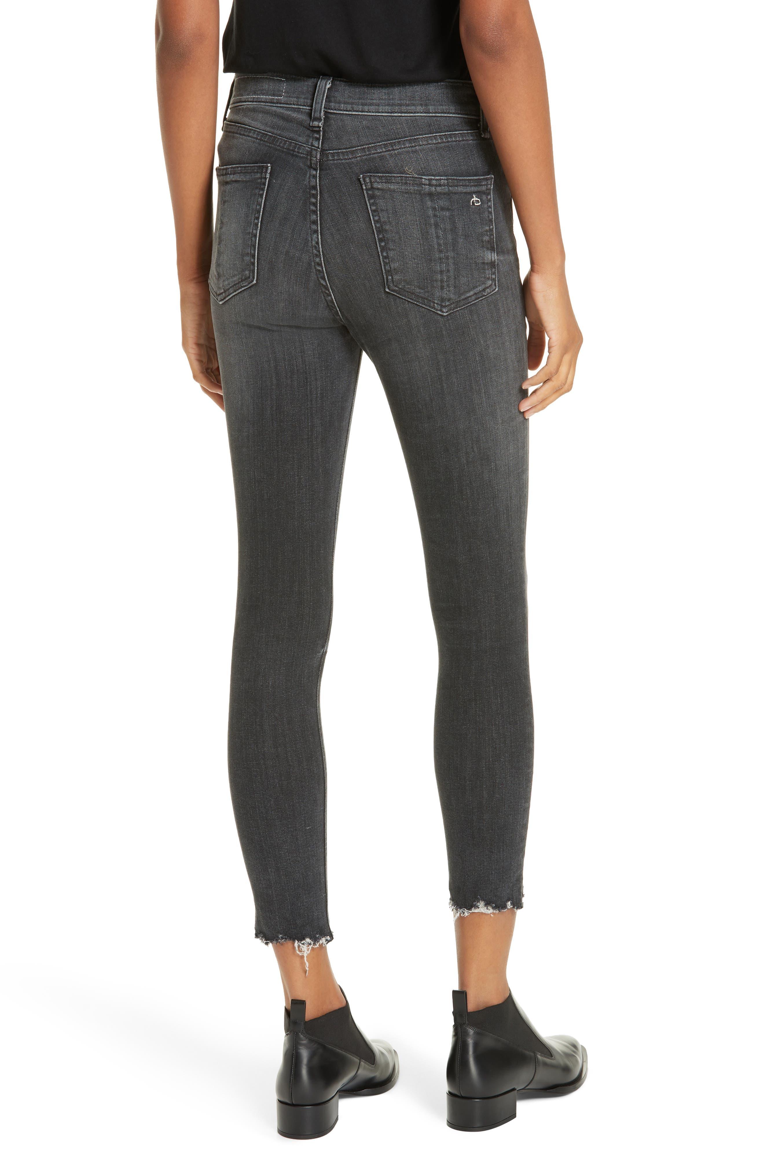 RAG & BONE, High Waist Raw Hem Crop Skinny Jeans, Alternate thumbnail 2, color, BRANDI