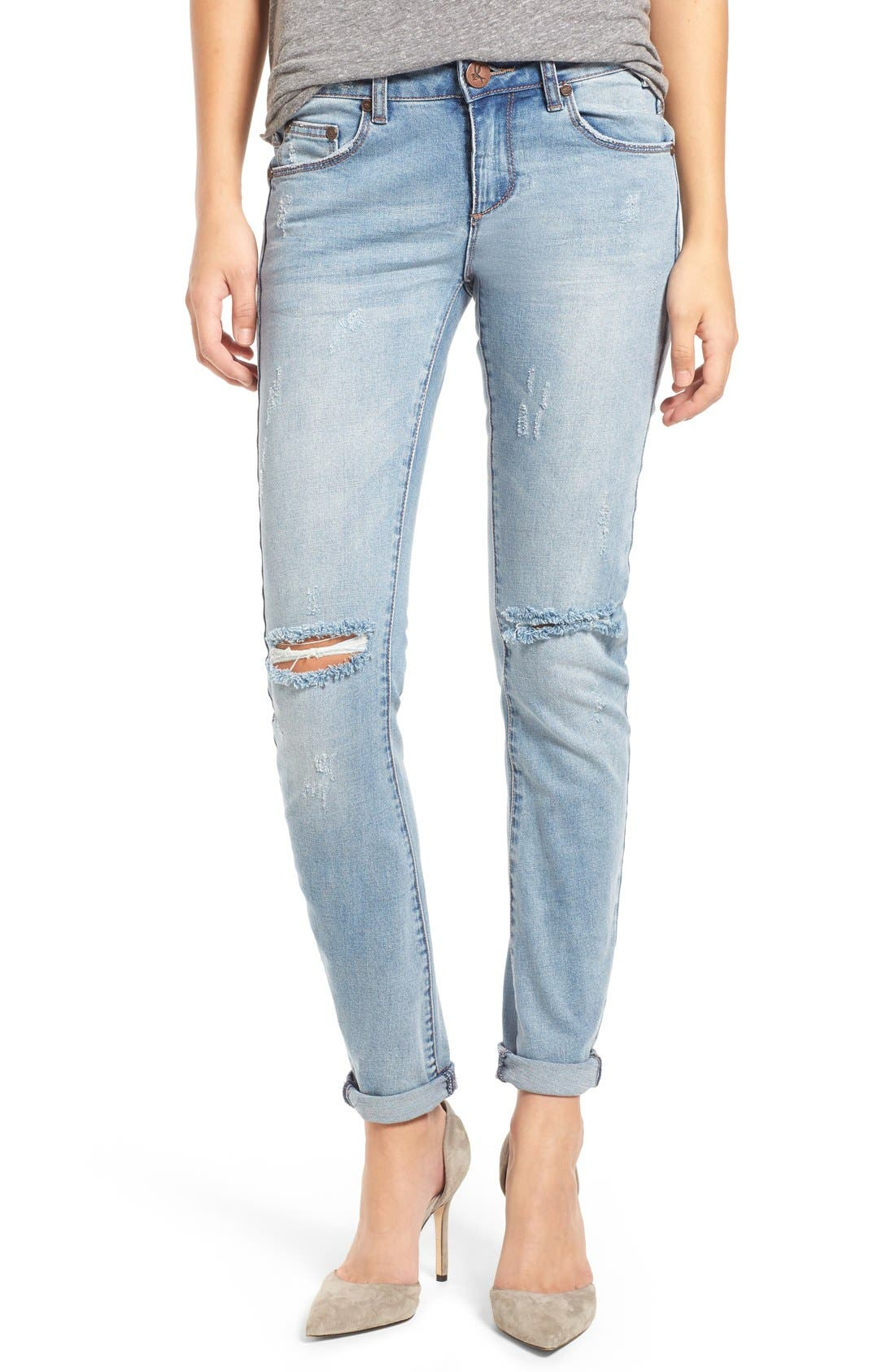 ONE TEASPOON, Distressed Skinny Jeans, Main thumbnail 1, color, 400