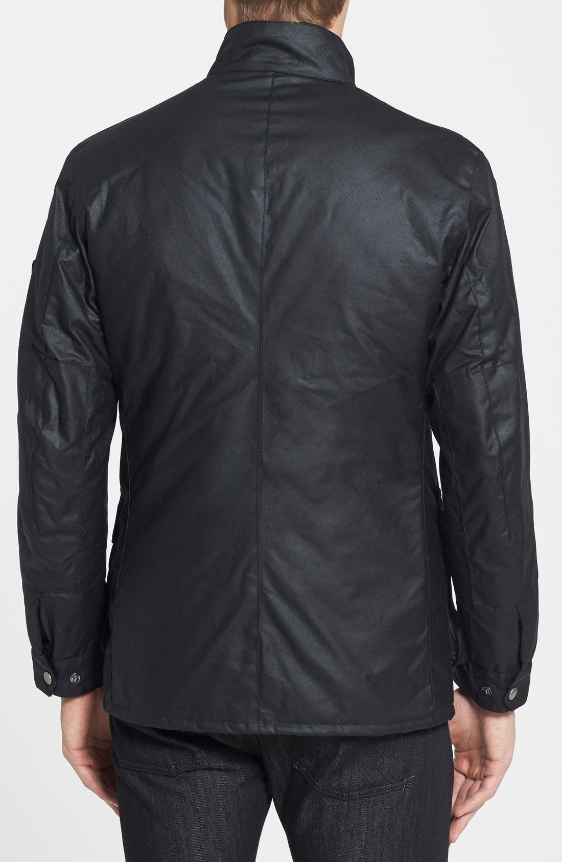 BARBOUR, 'Duke' Regular Fit Waterproof Waxed Cotton Jacket, Alternate thumbnail 2, color, BLACK