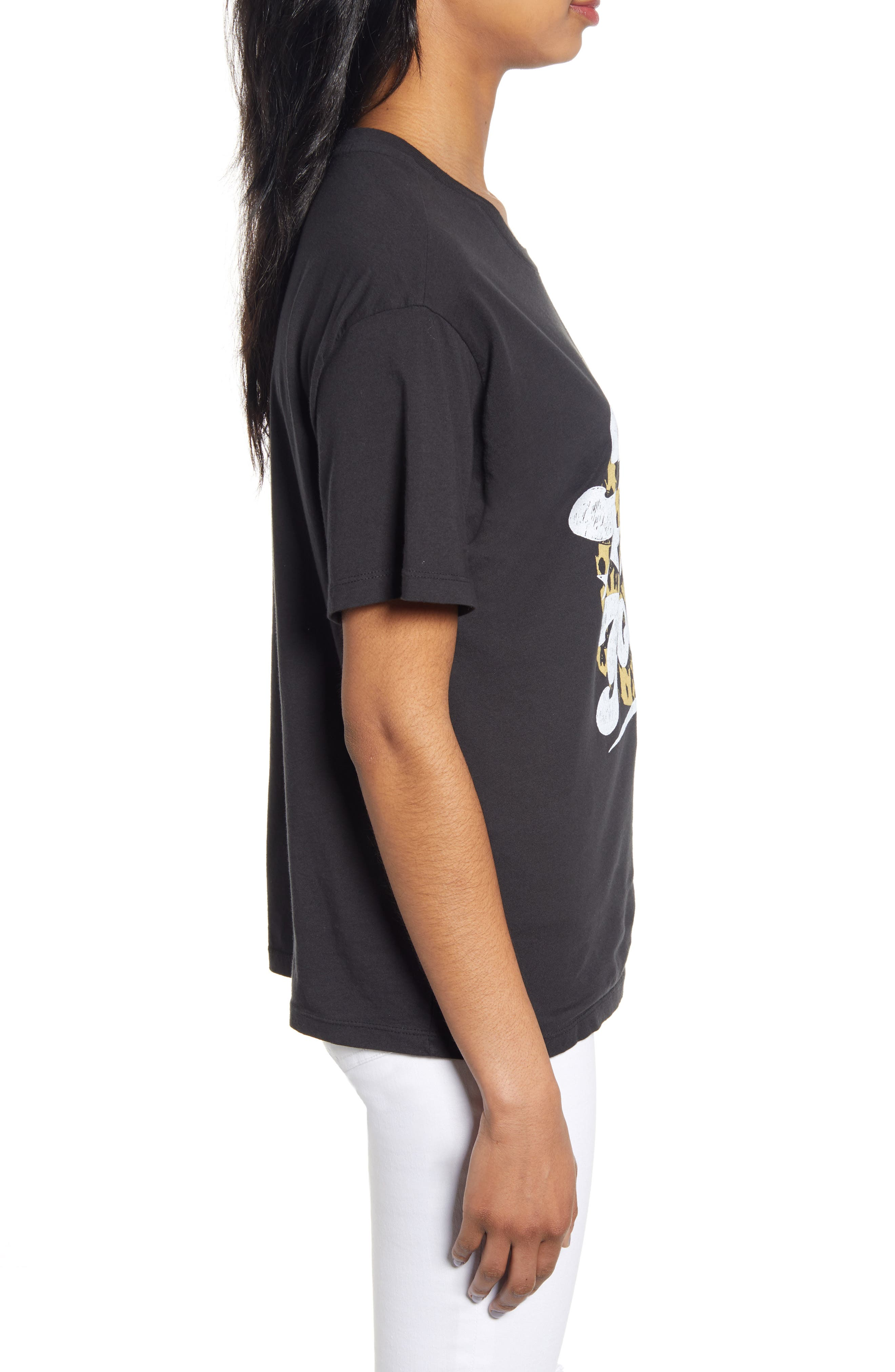 DAY BY DAYDREAMER, Heart of Gold Tee, Alternate thumbnail 3, color, FADED BLACK