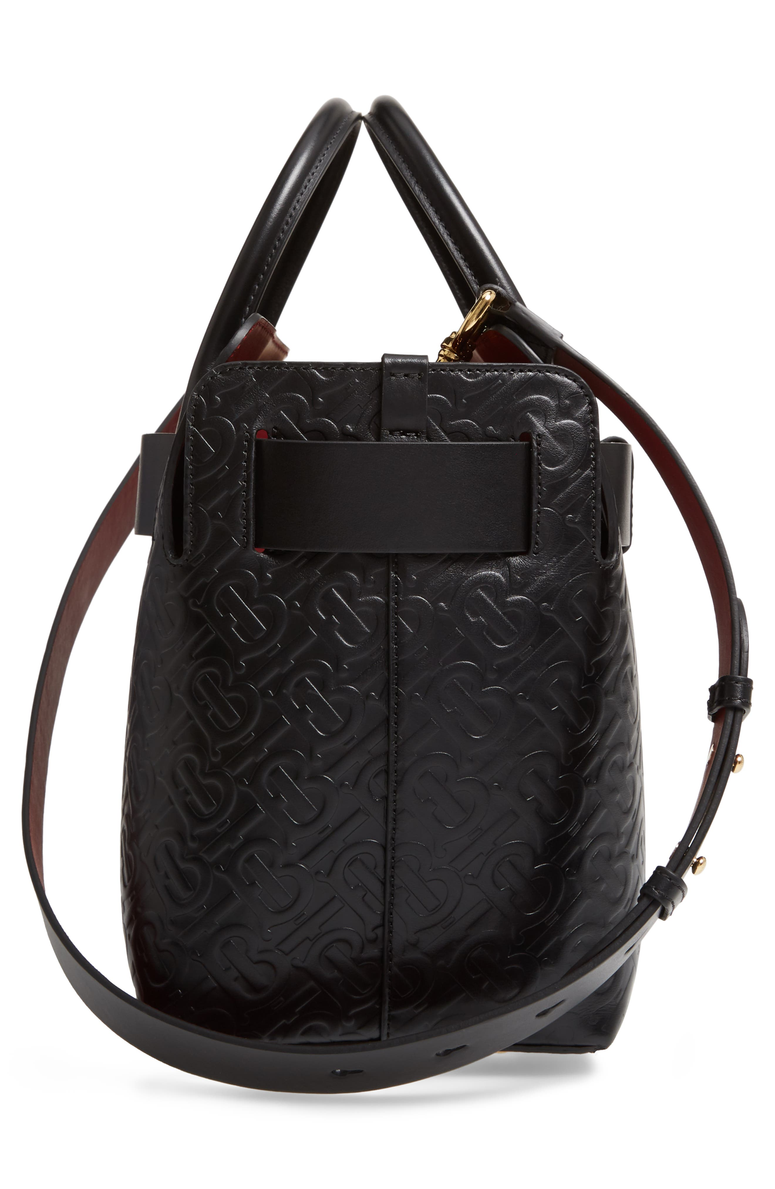 BURBERRY, Small Belt Embossed Logo Leather Satchel, Alternate thumbnail 5, color, BLACK