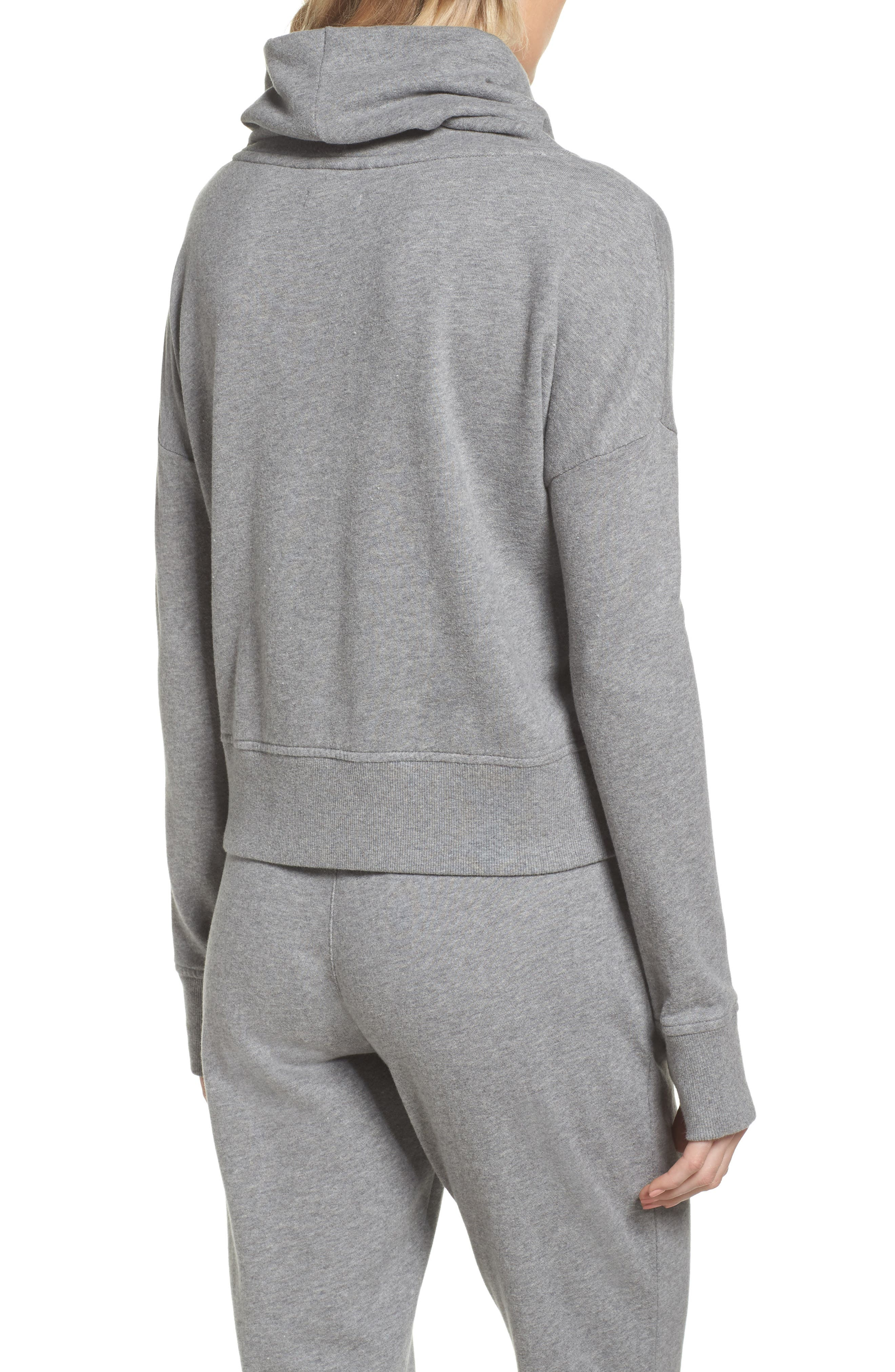UGG<SUP>®</SUP>, Miya Funnel Neck Sweatshirt, Alternate thumbnail 2, color, GREY HEATHER