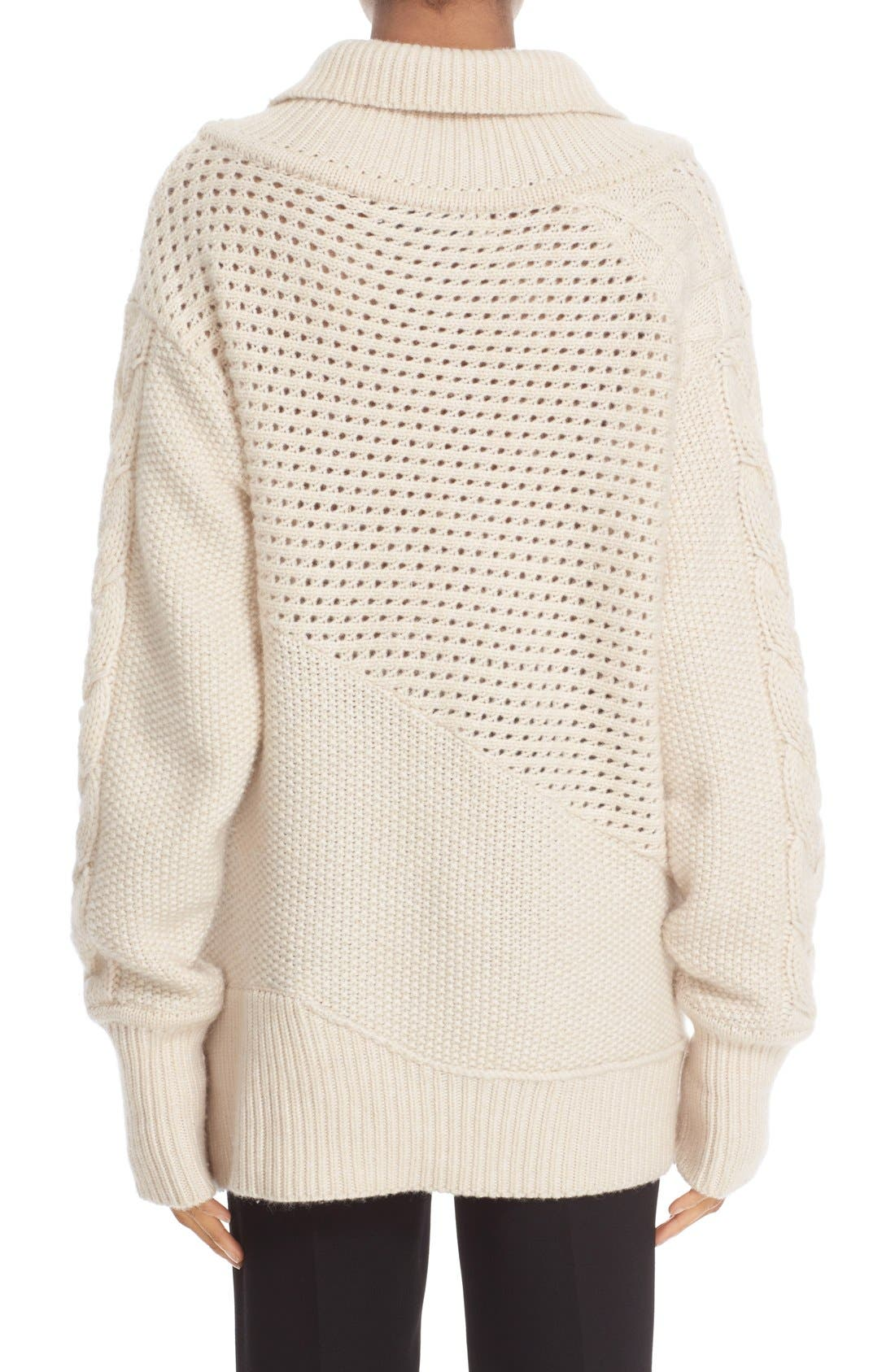 PRABAL GURUNG, Cable Knit Cashmere Sweater, Alternate thumbnail 4, color, 904