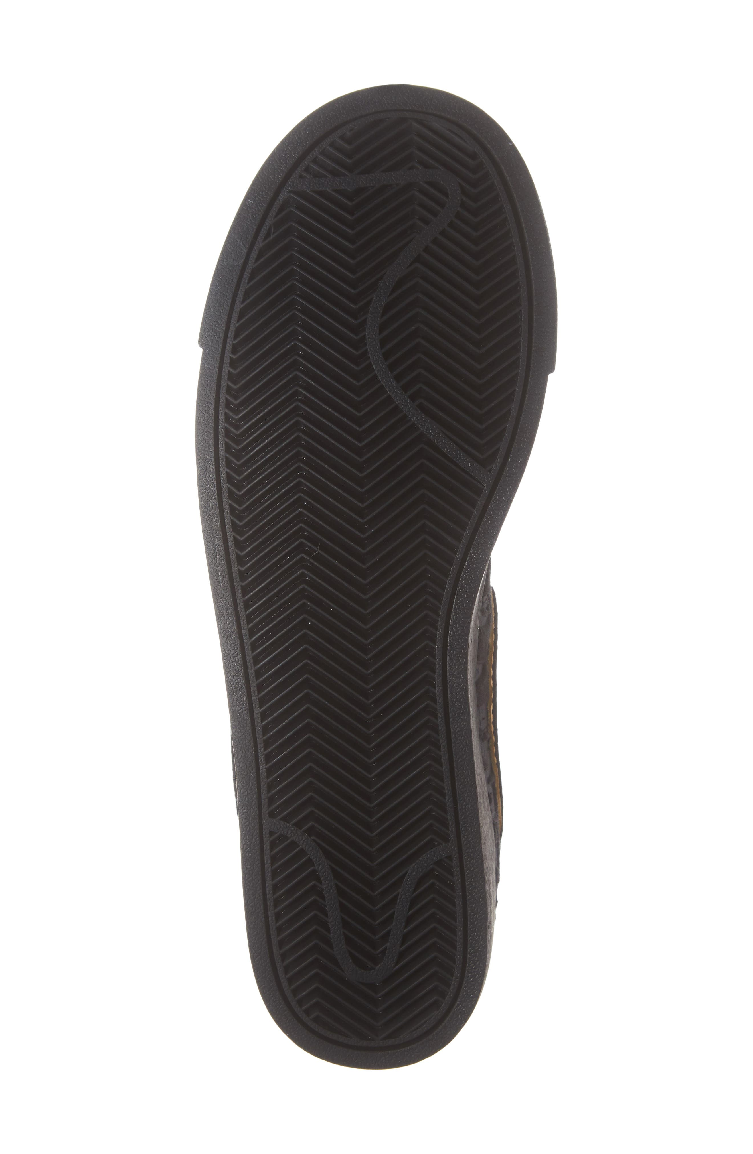 NIKE, Blazer Mid Top Sneaker, Alternate thumbnail 6, color, BLACK/ GOLD/ SUMMIT WHITE
