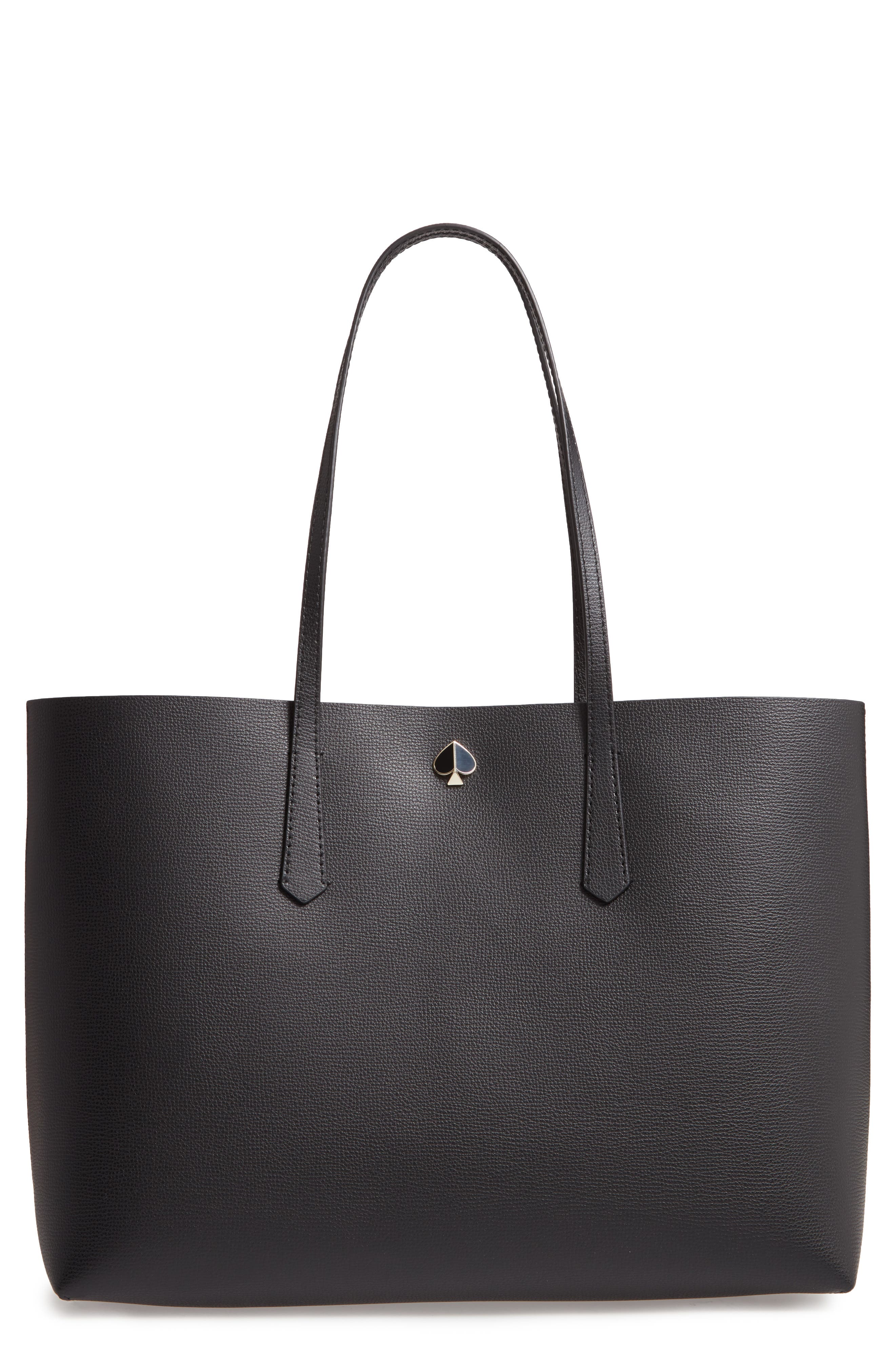 KATE SPADE NEW YORK, large molly leather tote, Main thumbnail 1, color, BLACK